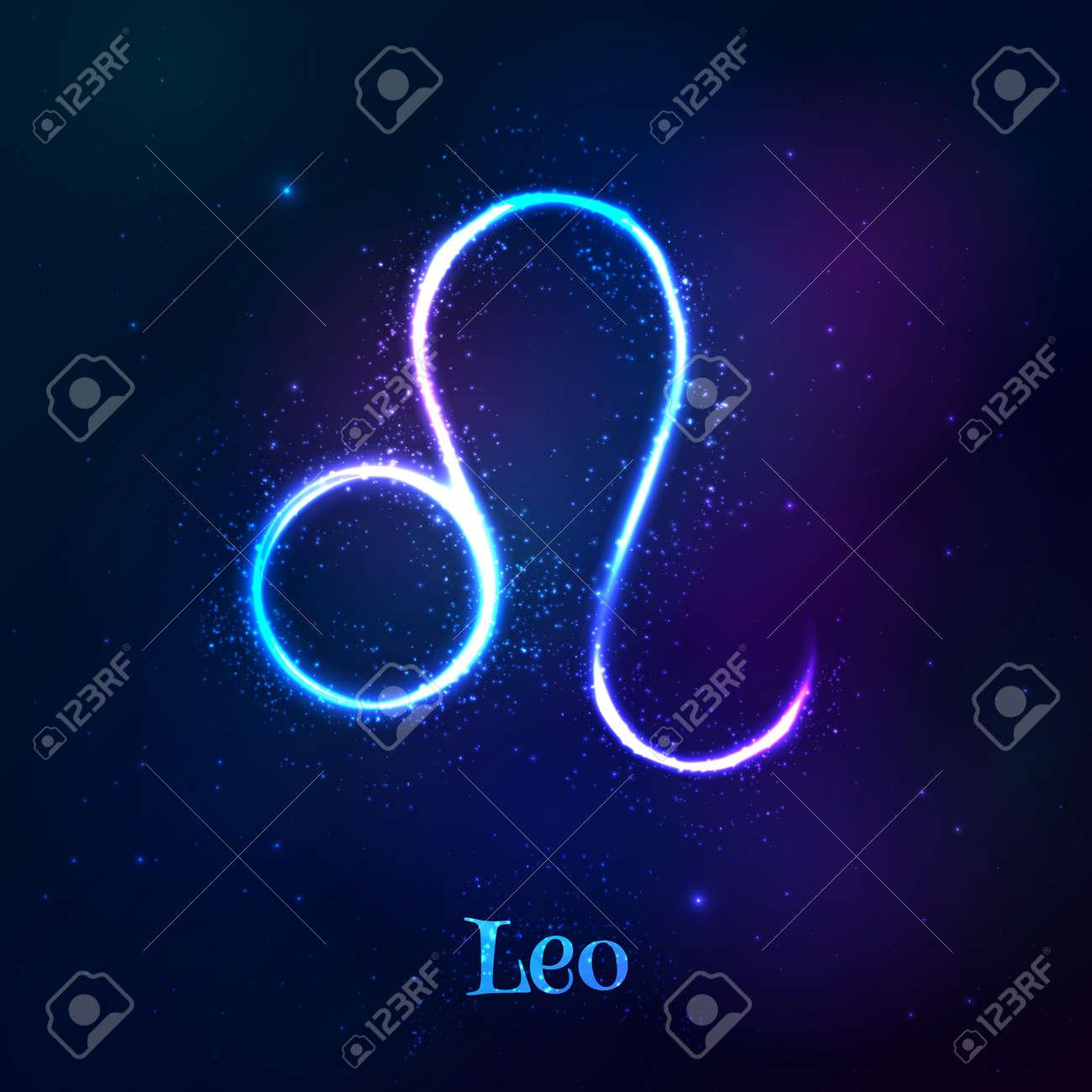 Blue shining cosmic neon zodiac Leo vector symbol - 45876351
