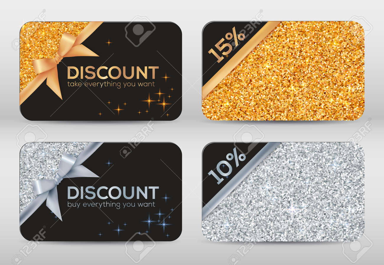 Design of discount card - Set Of Golden And Silver Glitter Black Vector Discount Cards Templates Stock Vector 47346867
