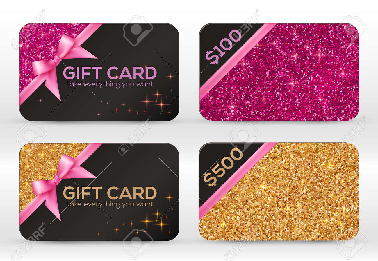 set of golden and pink glitter vector black gift cards templates
