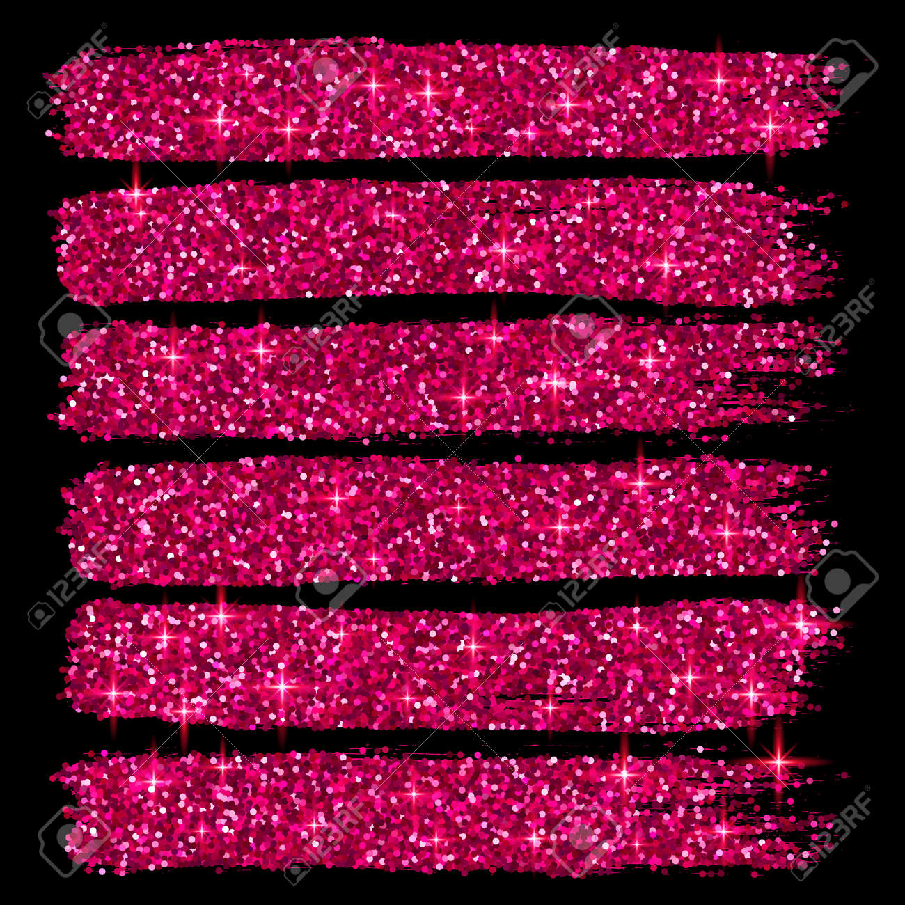vector vector pink glitter brush strokes set isolated at black background