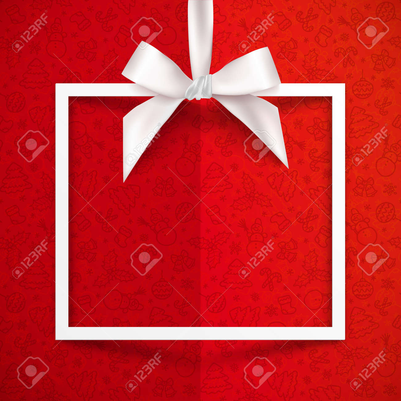 Gift box images stock pictures royalty free gift box photos and white paper gift box vector frame with silky bow and ribbon on red christmas pattern background negle Gallery