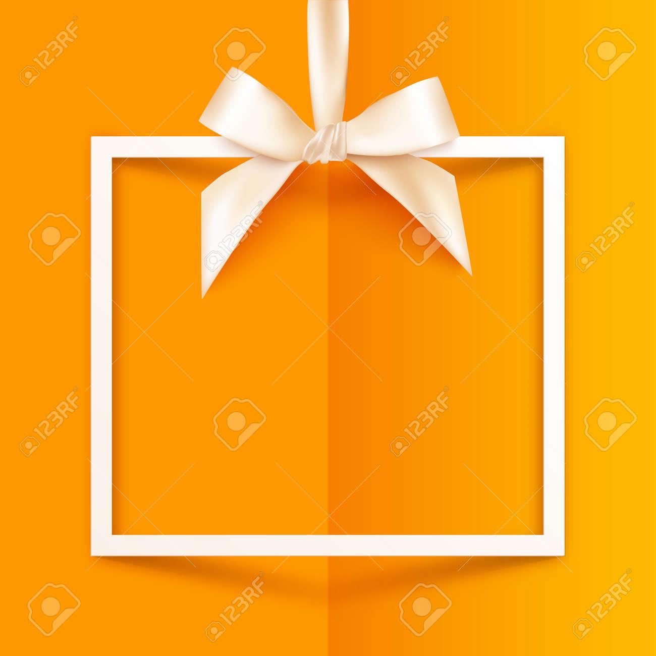 Weiß-Vektor-Geschenk-Box-Rahmen Mit Seidigen Bug Und Farbband Auf ...
