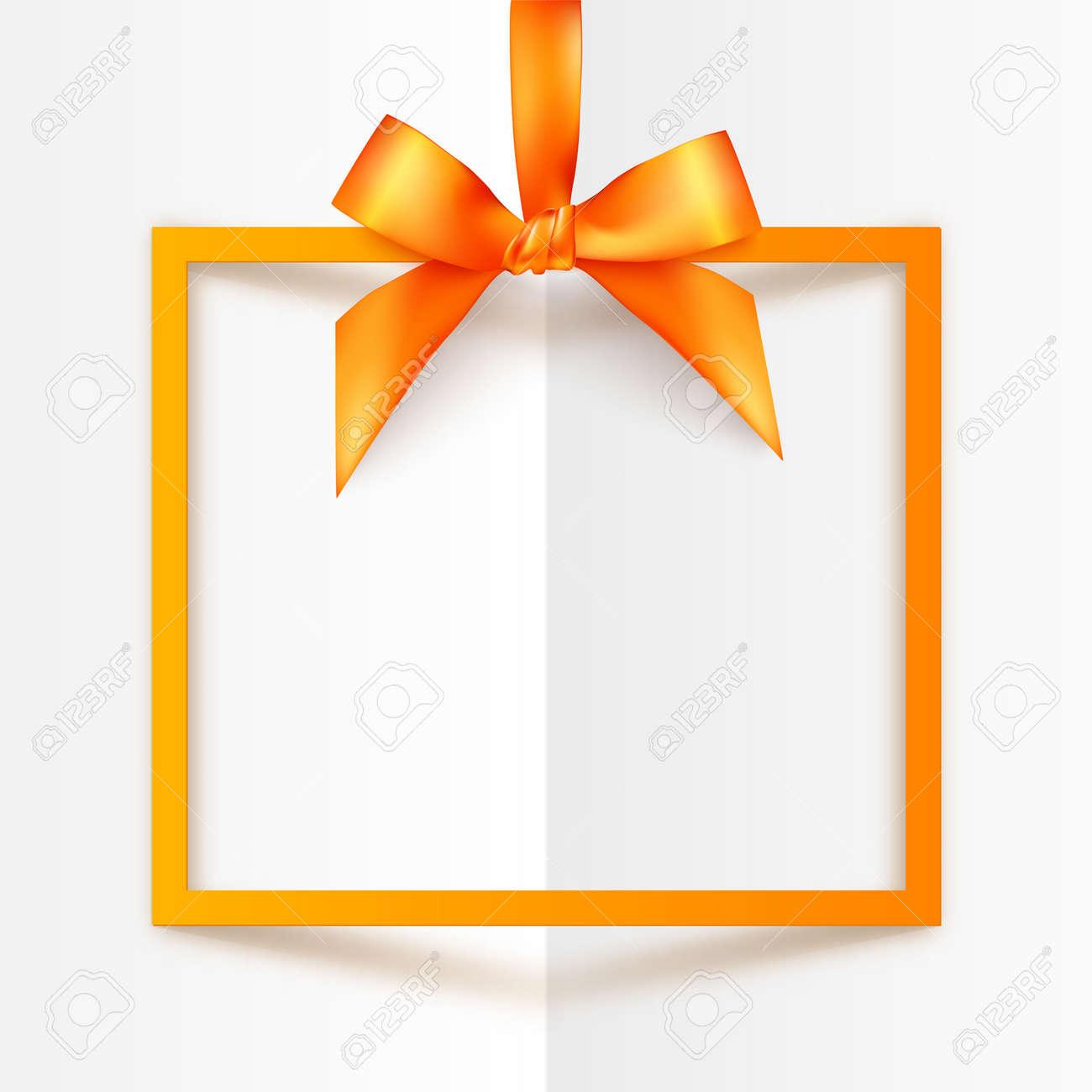 Orange Vektor-Geschenk-Box-Rahmen Mit Seidigen Bug Und Farbband Auf ...