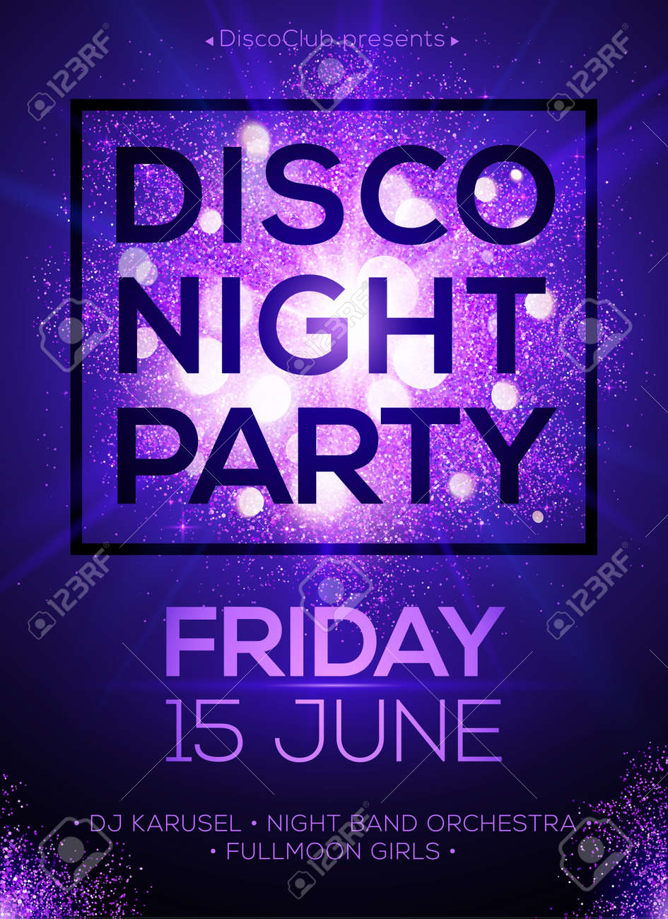 Disco night party vector poster template with shining violet spotlights background - 50424636