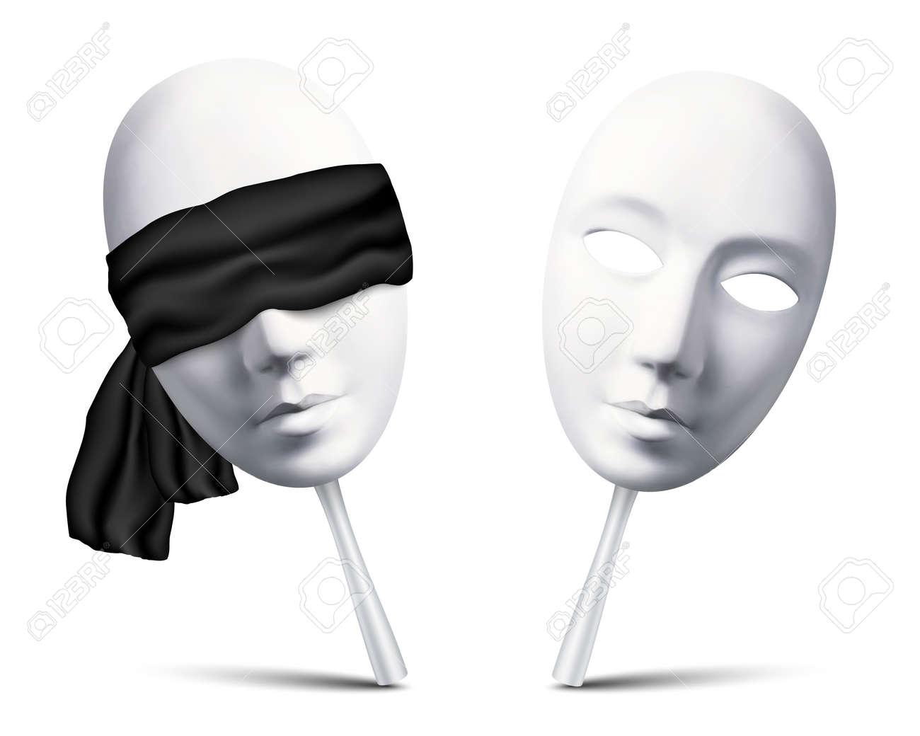 Couple of white vector blindfolded masks for mafia game - 51255644