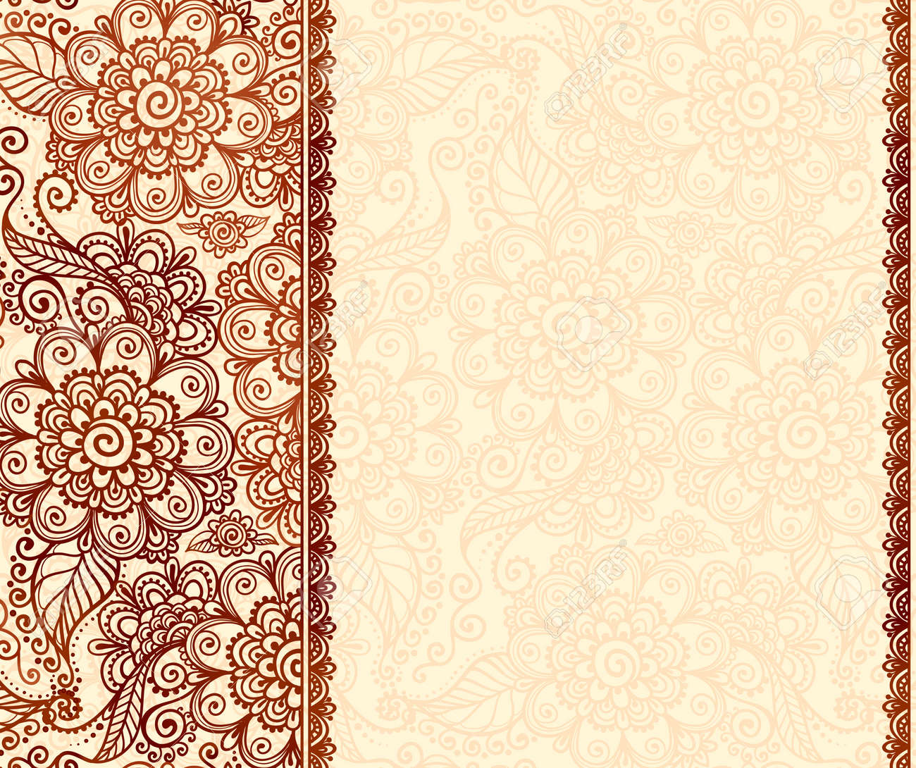 Vintage Henna Tatto Mehndi Flowers Vector Background Royalty Free