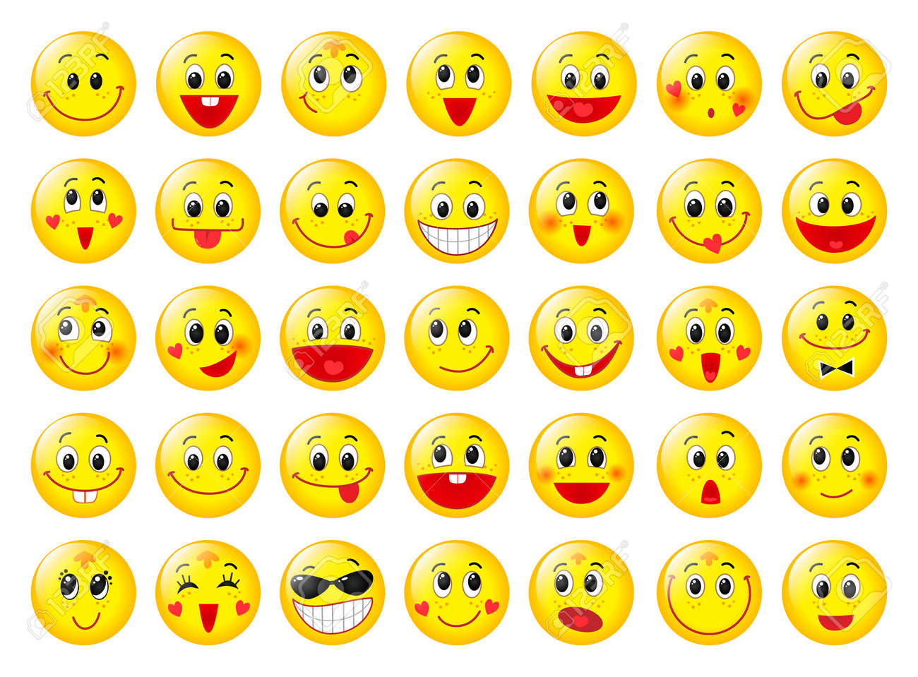 Yellow happy round emoticon faces set isolated on white royalty yellow happy round emoticon faces set isolated on white stock vector 57913775 buycottarizona Images