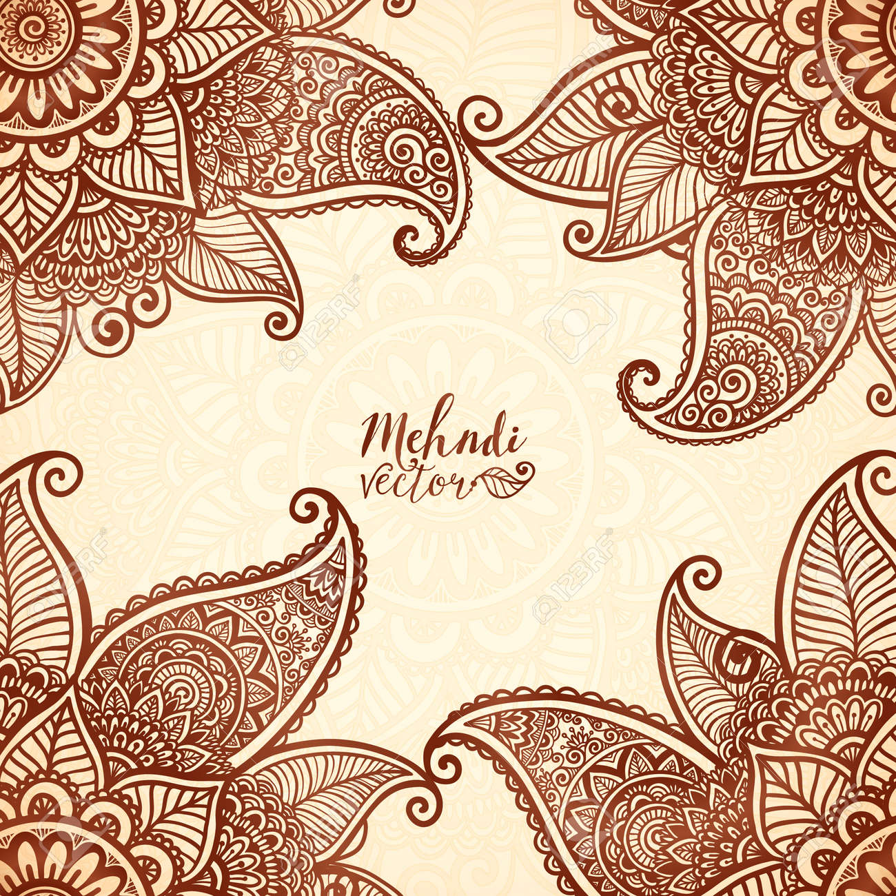 Indian Mehndi Henna Tattoo Style Vector Card Background Royalty Free
