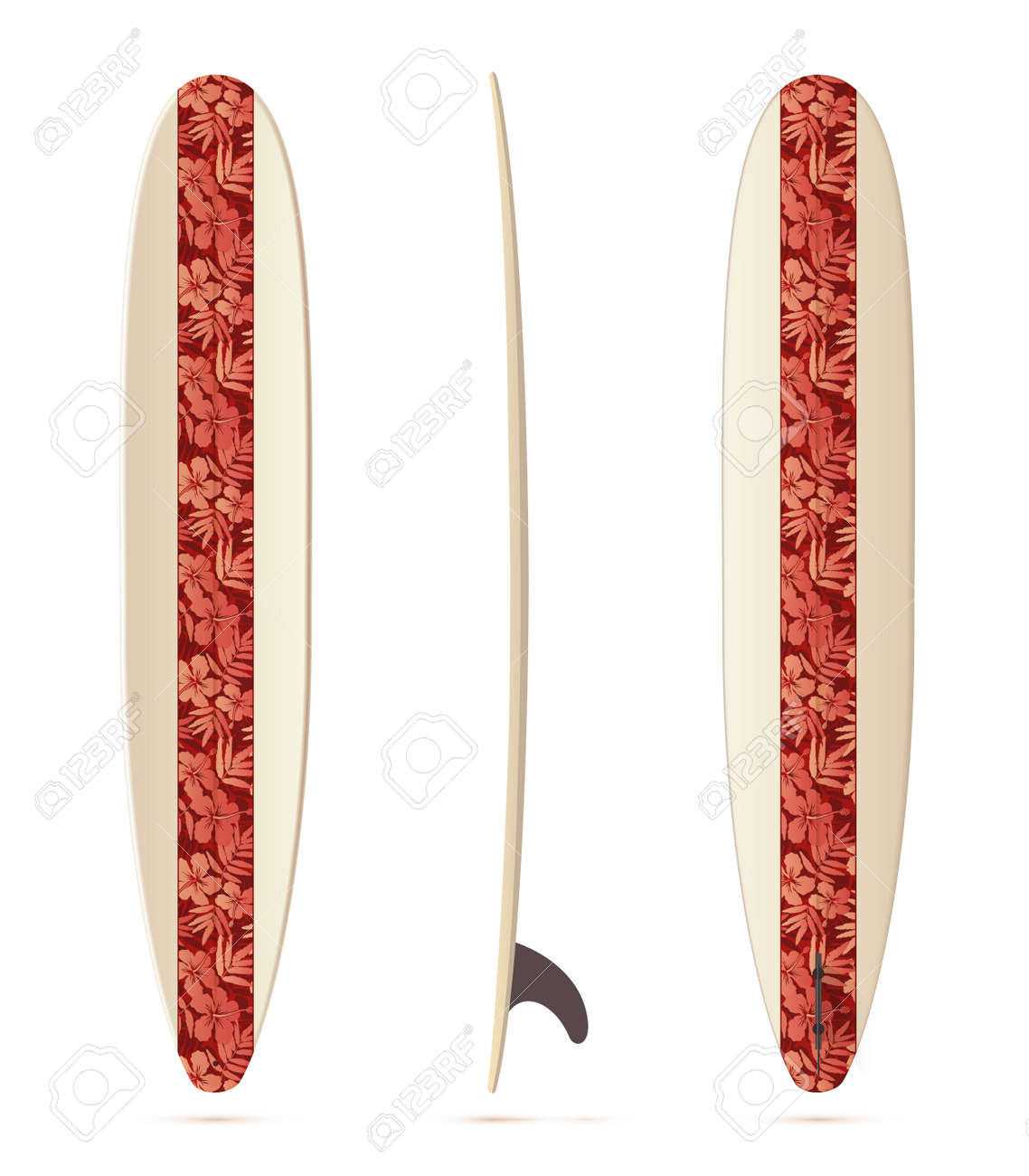 Vintage Style Vector Realistic Longboard Surfing Board Isolated