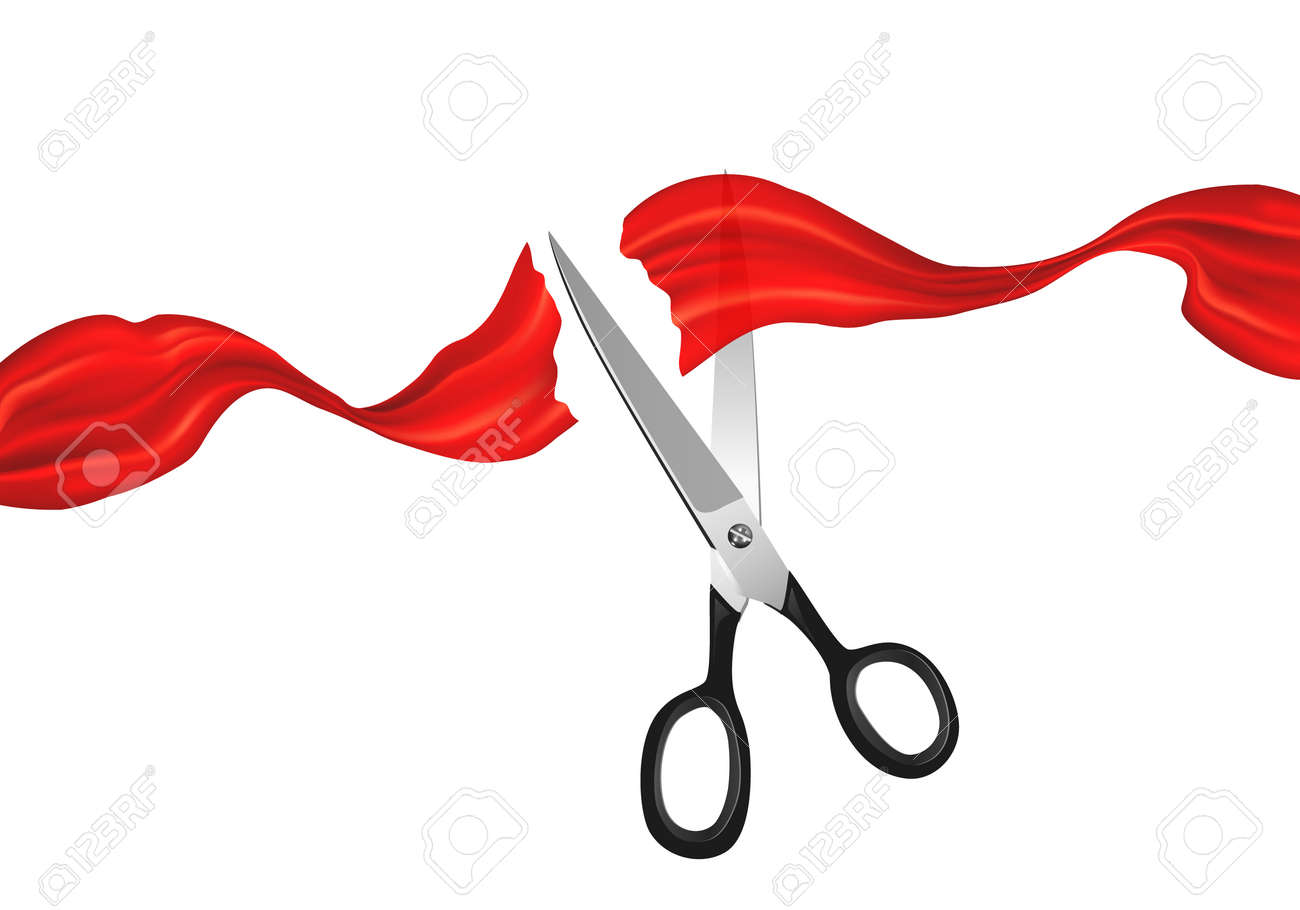 Line Art Ribbon : Vector scissors cutting red silky ribbon. grand opening symbols