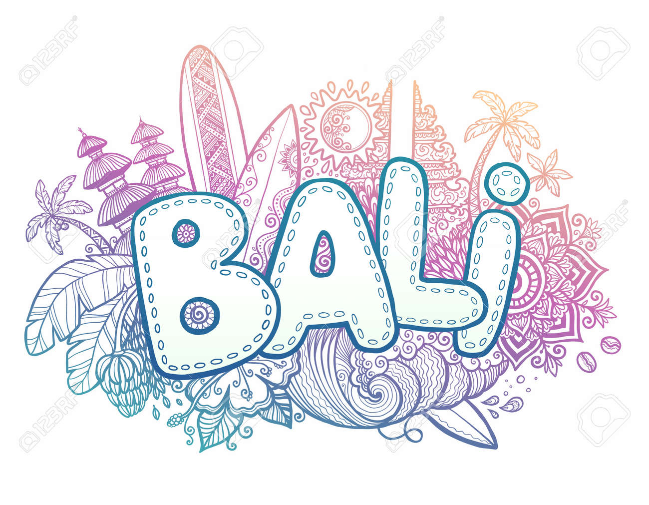 Blue And Pink Colors Vector Bali Sign On Hand Drawn Doodle Style