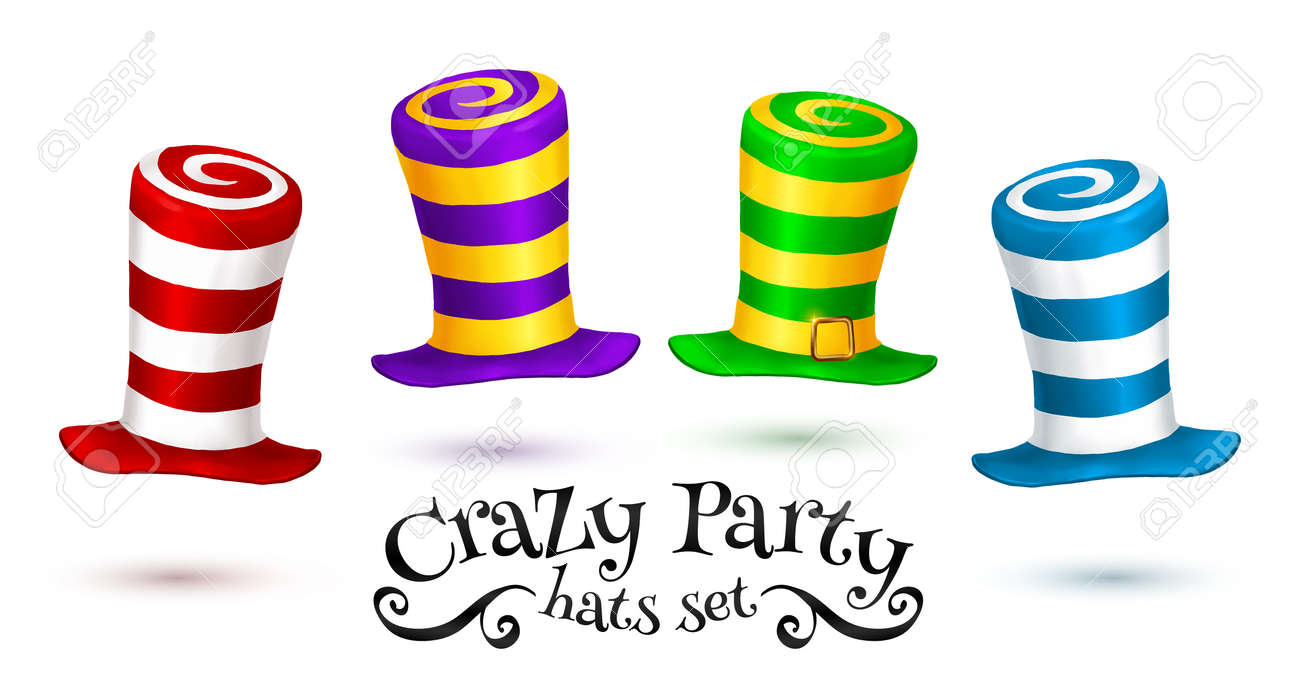 Crazy Party colorful striped carnival hats set isolated on white background - 63420577