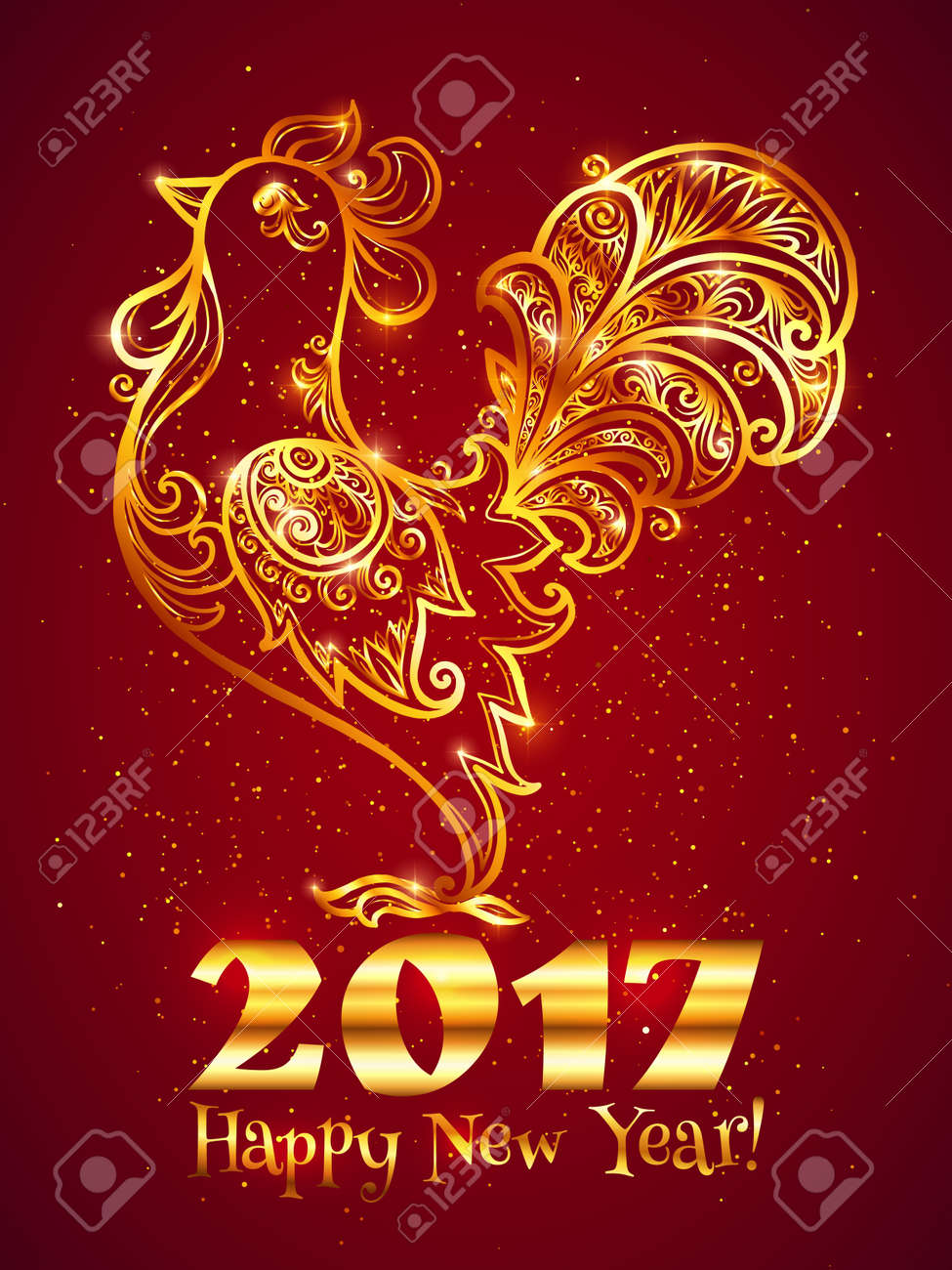 Golden lineart ornate rooster with sign Happy New Year. Traditional Chinese symbol of next 2017 year - 63420799