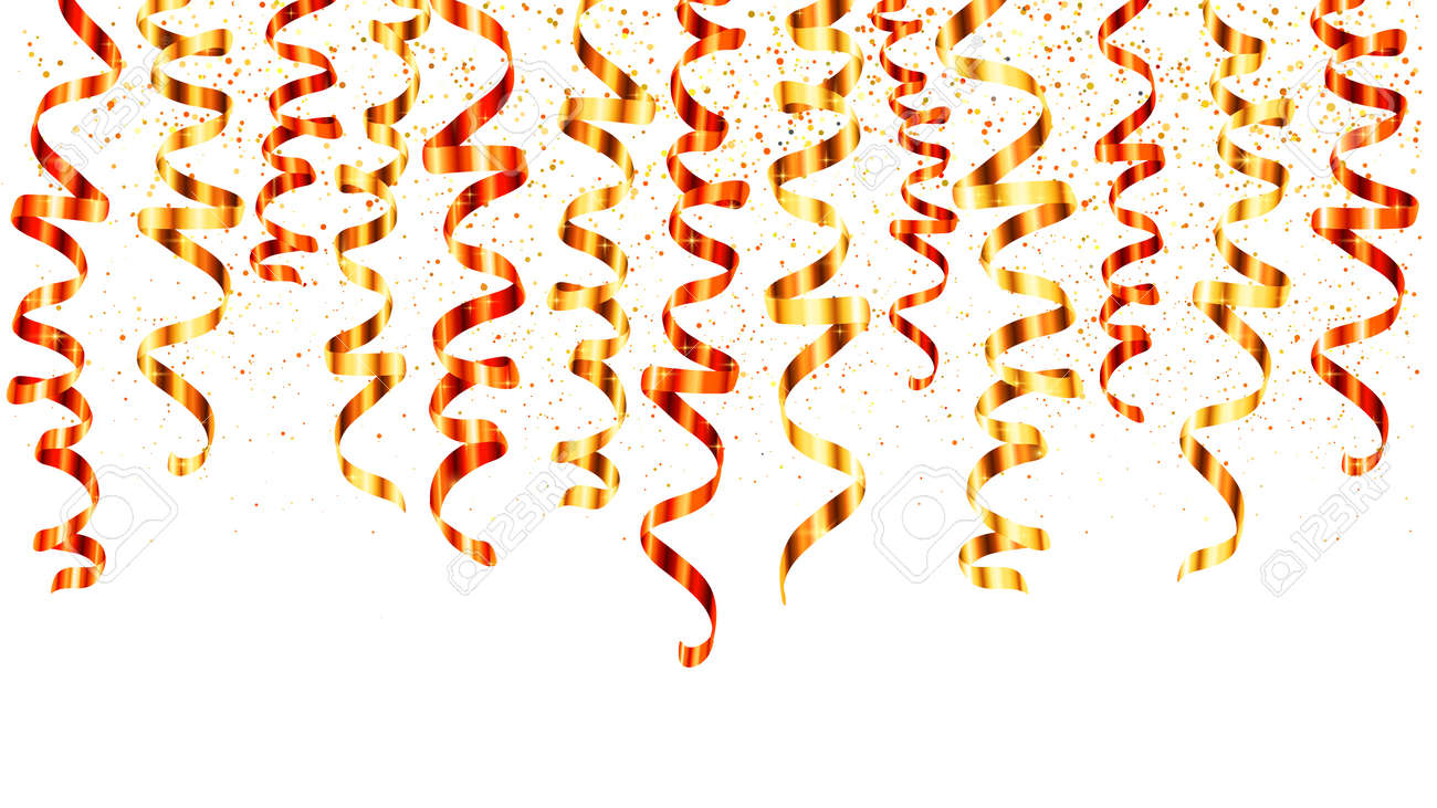 Red and gold vector serpentine curled ribbons hinging from the top - 67576409