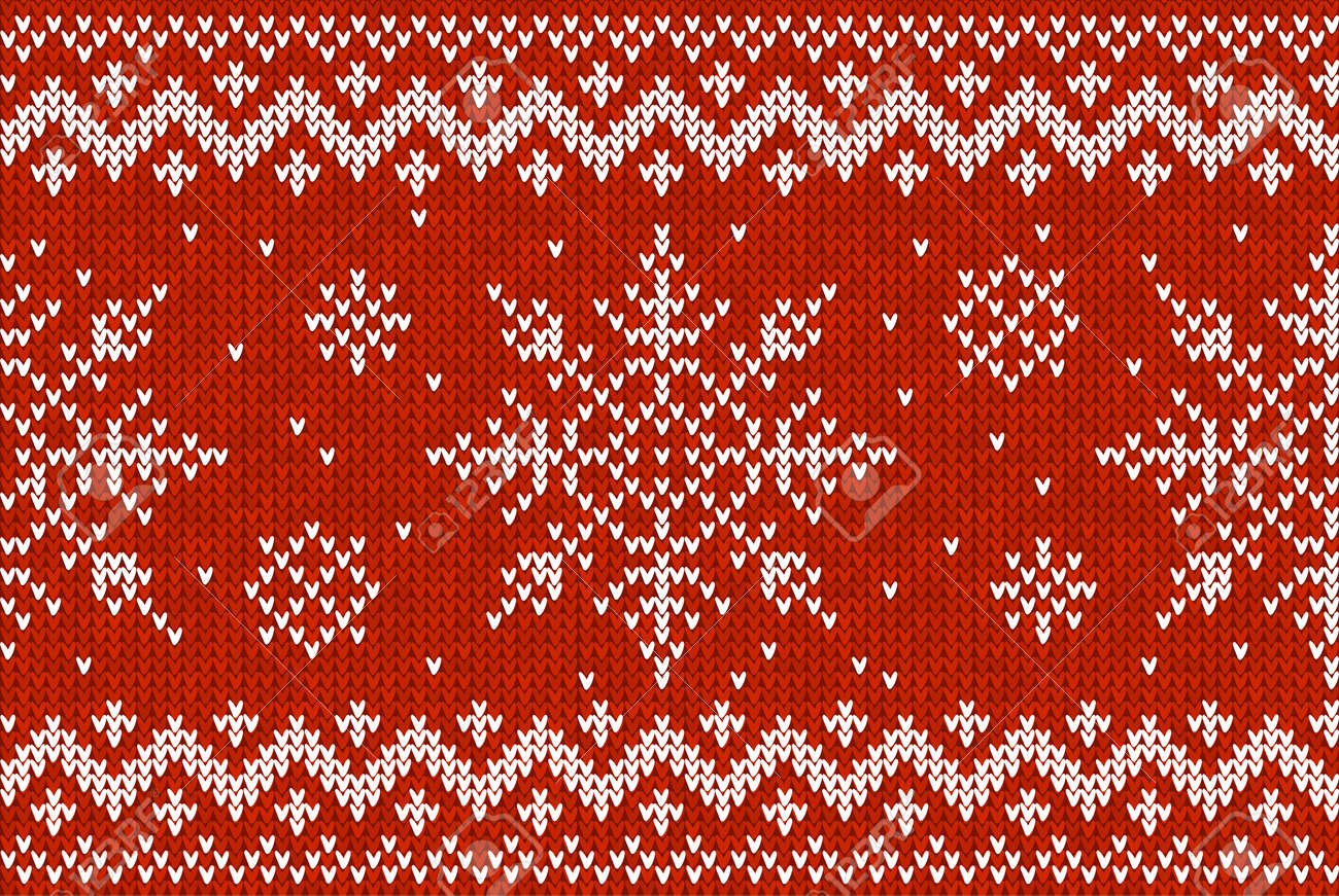 fe1a95229 Christmas Knitting Seamless Pattern With Snowflakes And Zig-zag ...