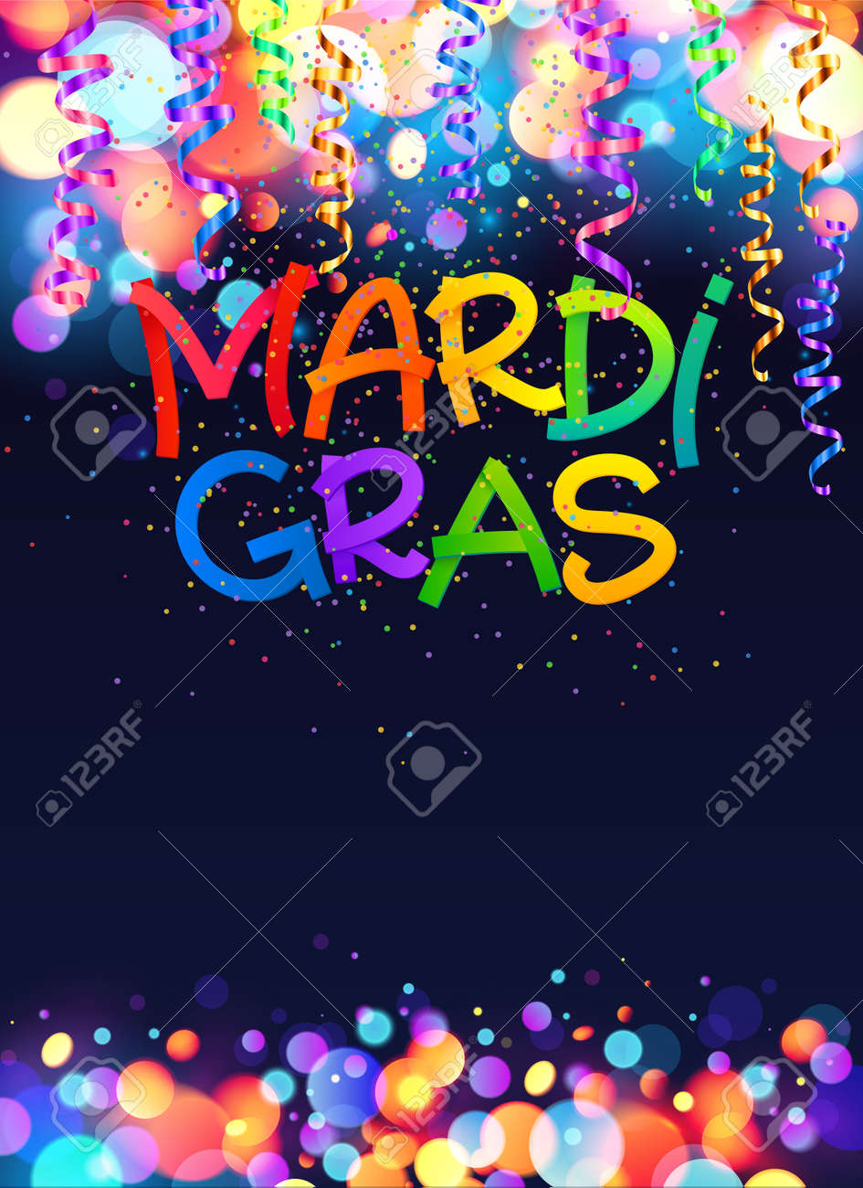 rainbow colors mardi gras vector poster template background royalty