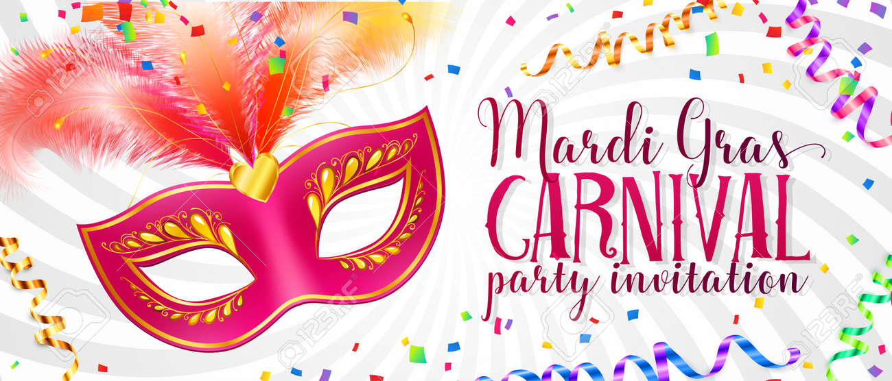 White Vector Mardi Gras Flyer Template With Pink Carnival Mask