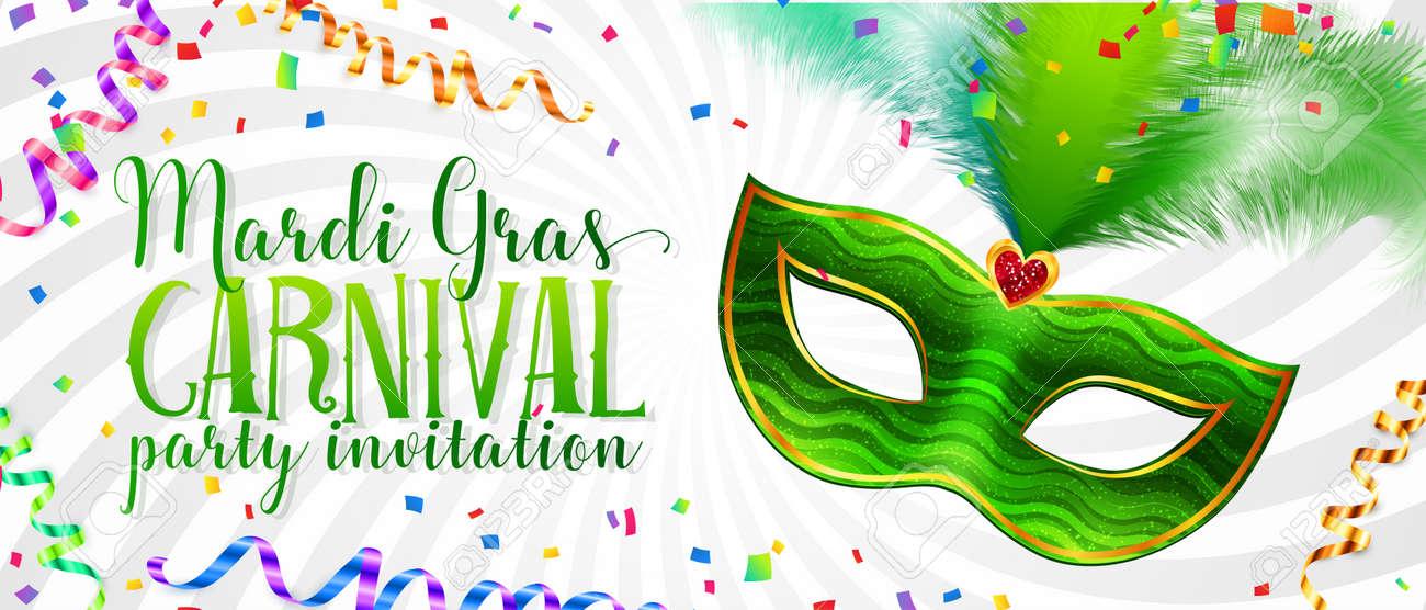 white vector mardi gras invitation card template with green carnival