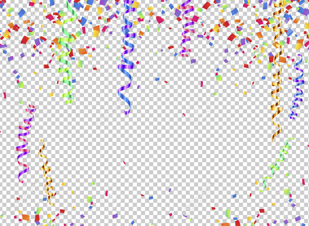Colorful serpentine and confetti on transparent background, transparency grid imitation - 70371989