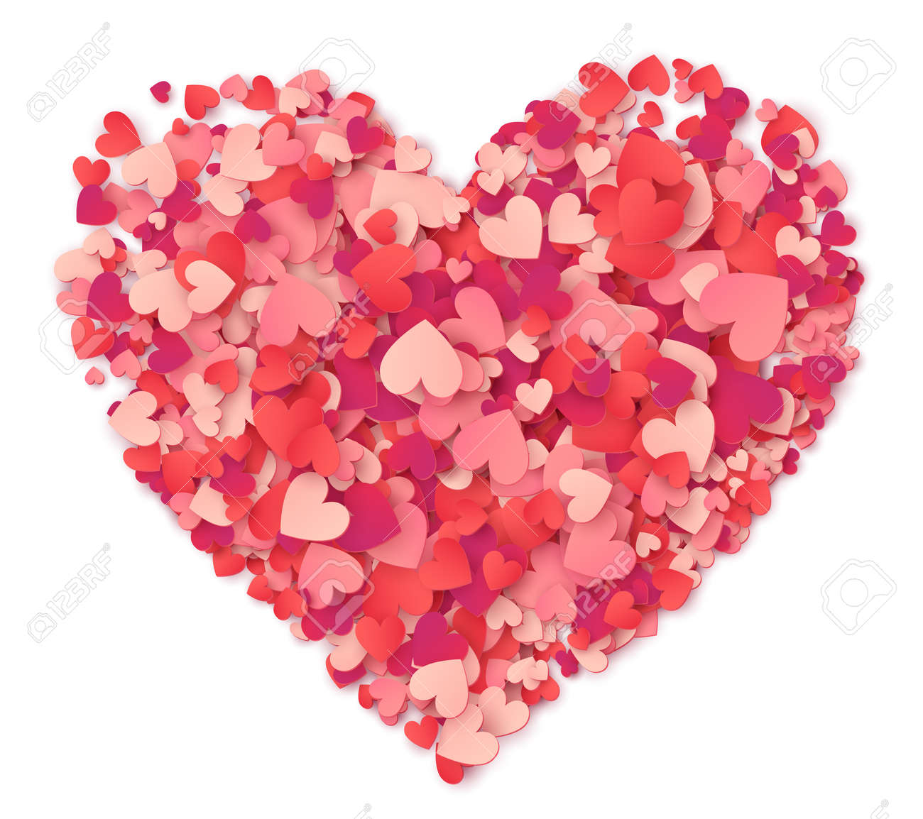 Vector big heart made from hearts shapes pink and red confetti on white - 70385505