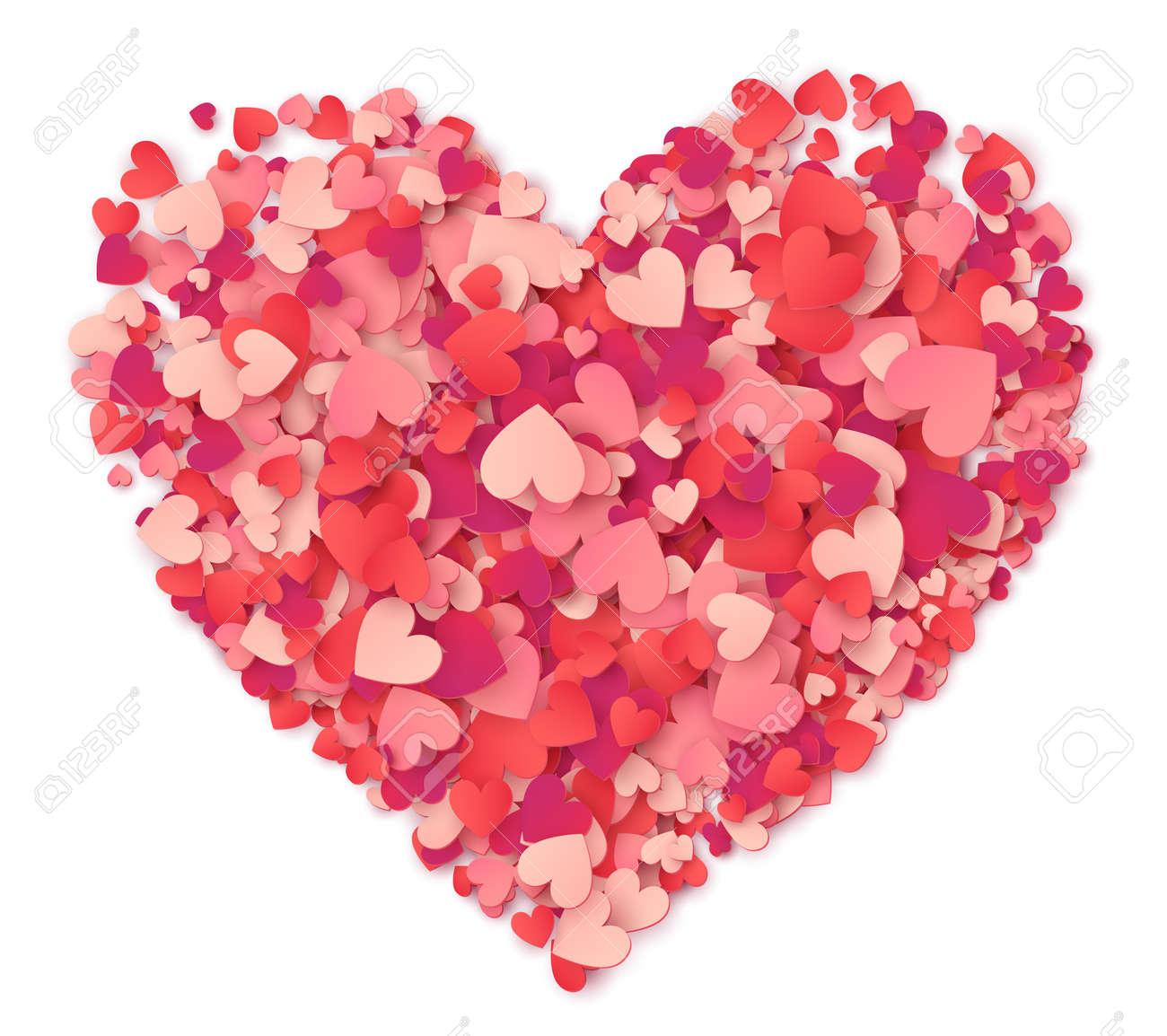 Vector Großes Herz Aus Herzen Formen Rosa Und Roten Konfetti Auf ...
