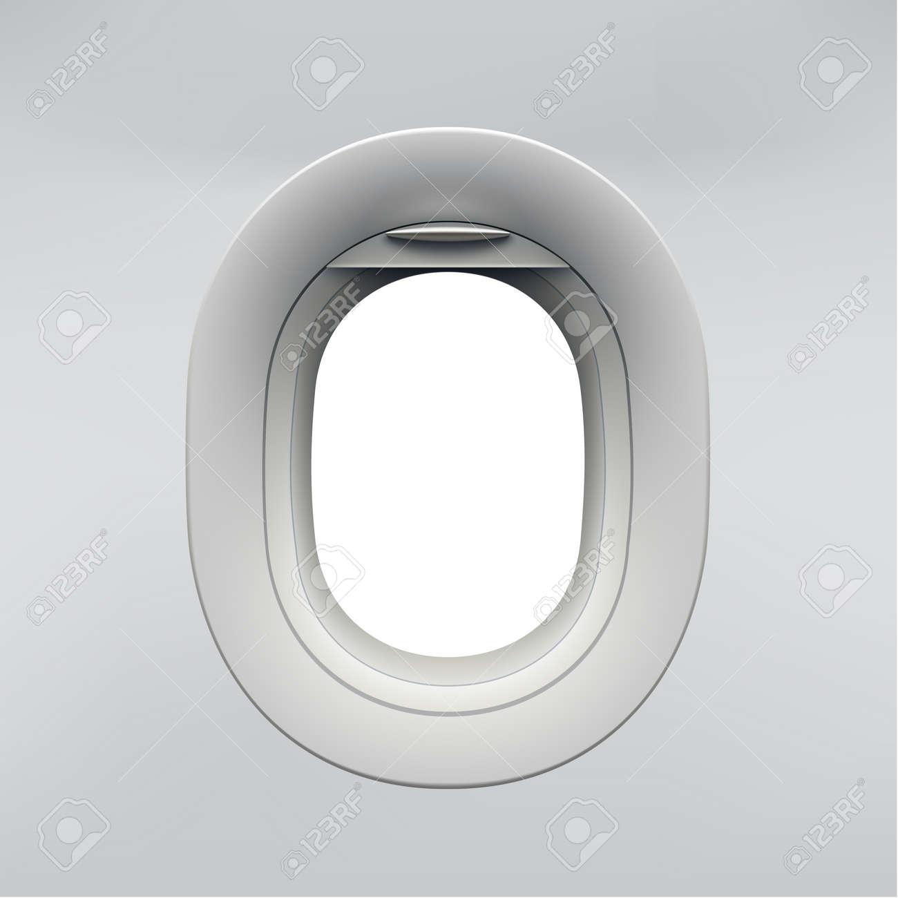 Vector realistic airplane window, aircraft illuminator. - 97946999