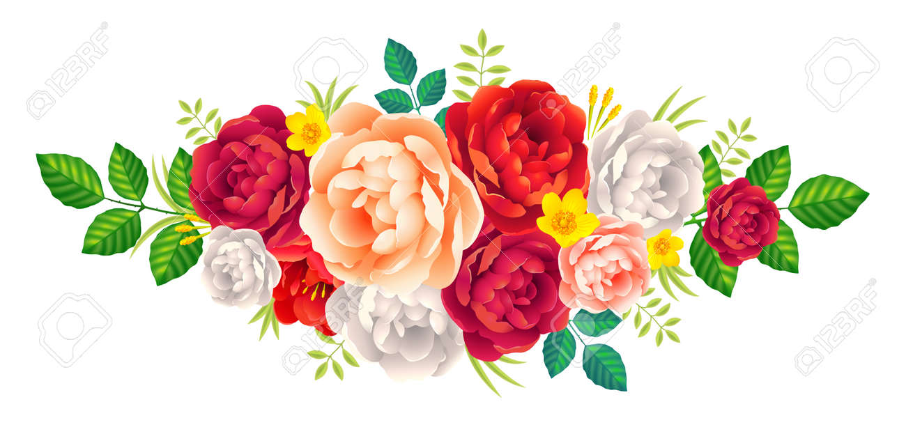 Vector rose and peonies flowers bouquet vintage romantic decoration vector vector rose and peonies flowers bouquet vintage romantic decoration on white background izmirmasajfo