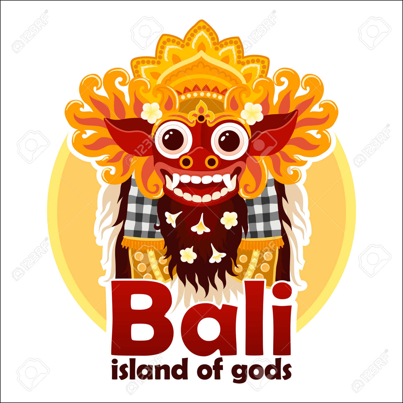 Bali Island Of Gods Sign With Bright Traditional Balinese Barong