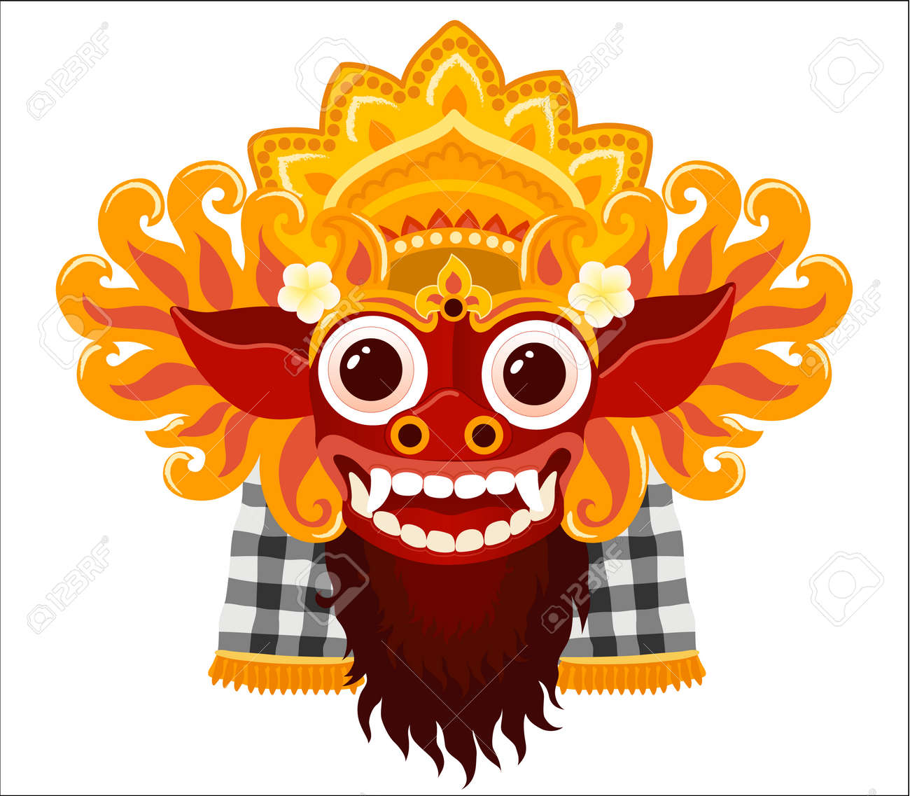 Barong balinese god vector mask in cartoon style isolated on white background. - 104368837