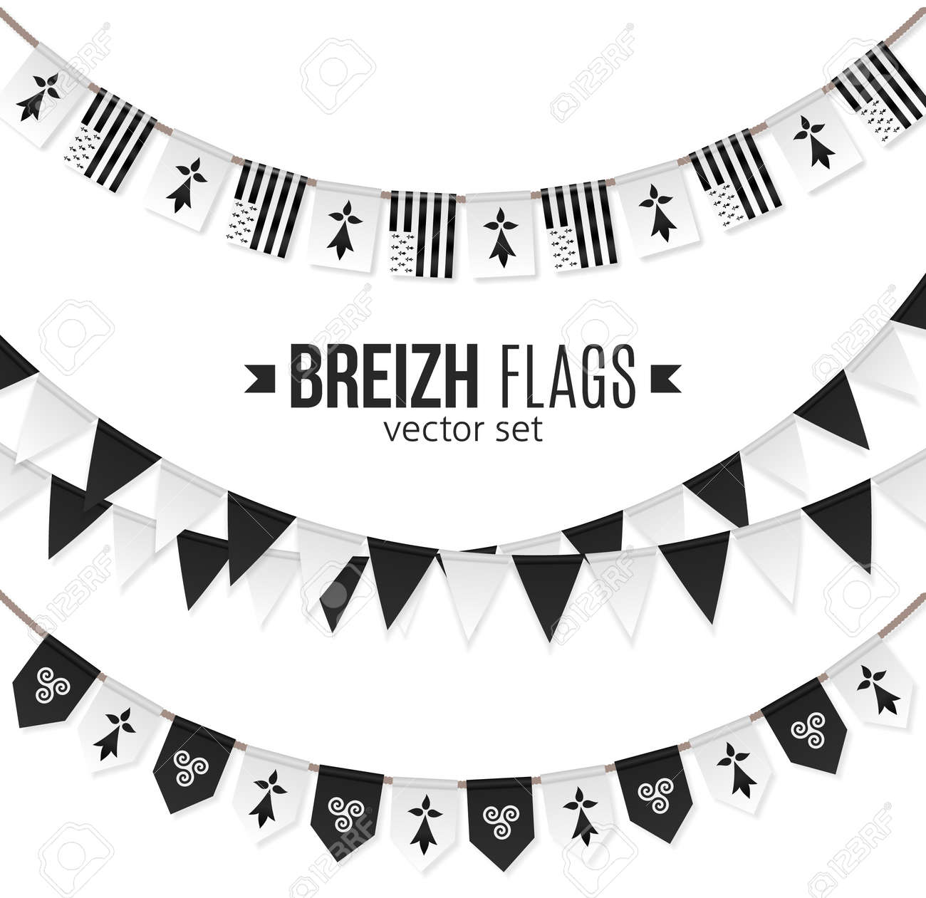 Vector flags and symbols of Brittany on garlands with triskels and hermines - 108987090