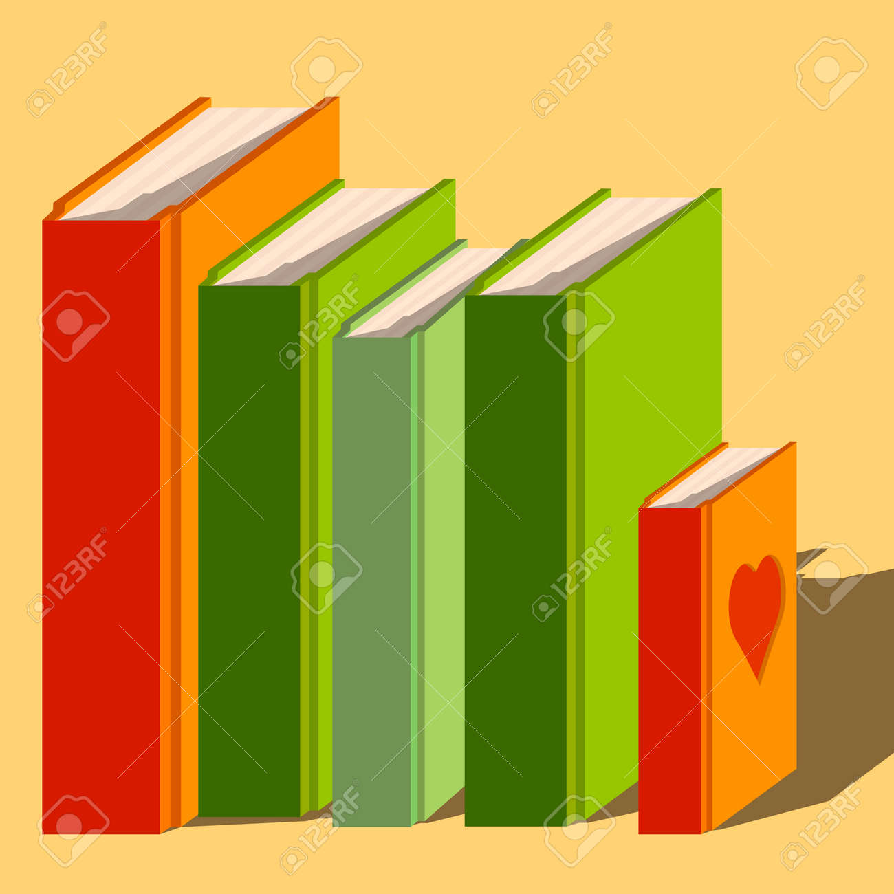 Vector Illustration Bunch Of Books On Color Background. Royalty Free ...