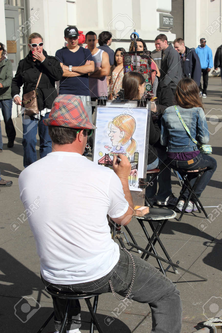 Caricature artist on the streets of San Francisco,fishermans wharf, march 2013 Stock Photo - 19030932