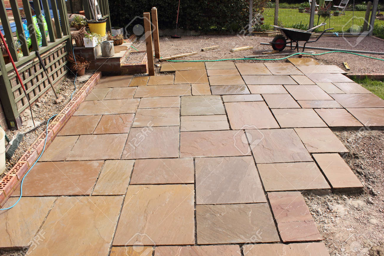Attractive The Construction And Building Of A Natural Stone Patio In An English Garden  Stock Photo