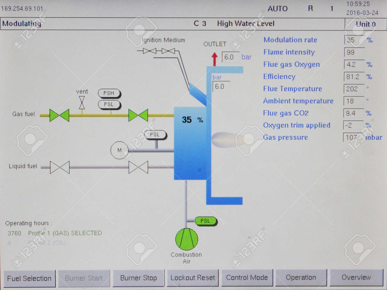 A Schematics Information Screen For An Industrial Dual Fuel Steam ...