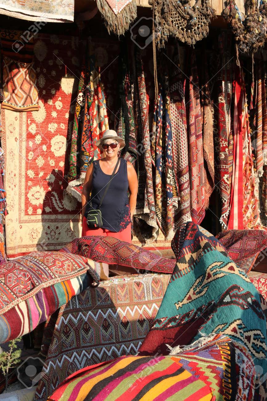 An English Tourist In A Traditional Turkish Carpet Shop Cappadocia Goreme2017 Stock