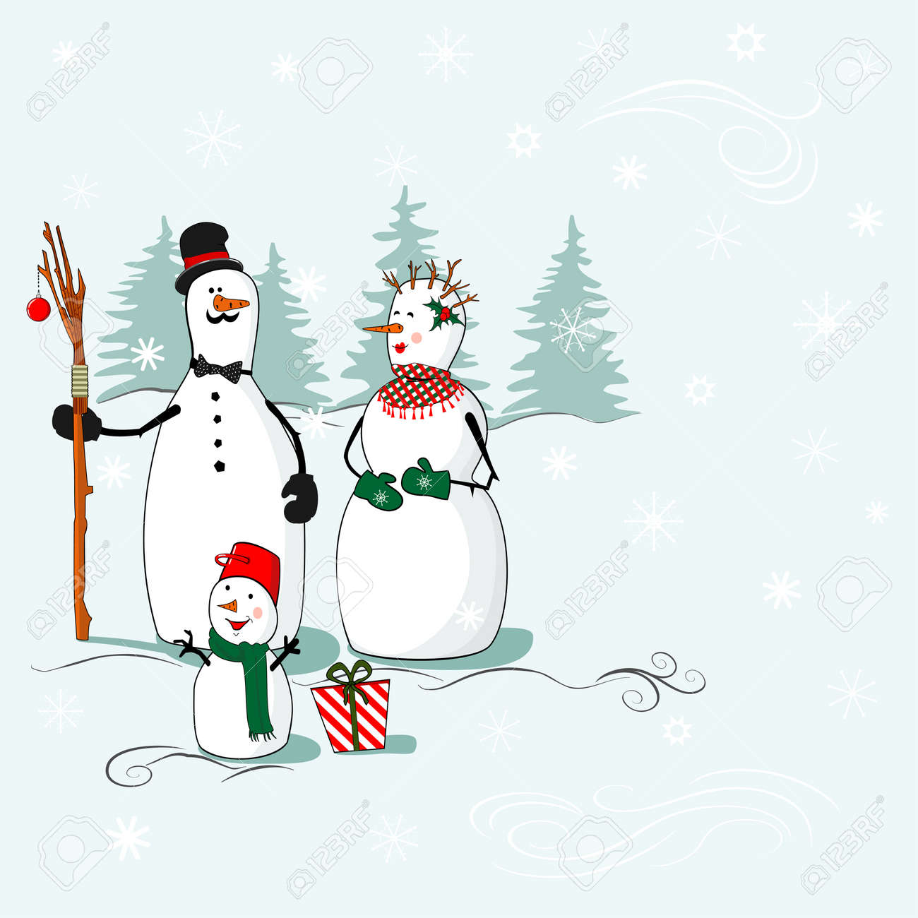 Greeting card with Christmas and New Year with a family of snowmen in the winter background, where you can put your text Stock Vector - 23073860