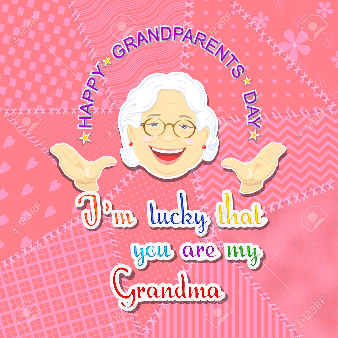 Greetings on grandparents day with the phrase and grandmother greetings on grandparents day with the phrase and grandmother face on a pink background in patchwork kristyandbryce Gallery