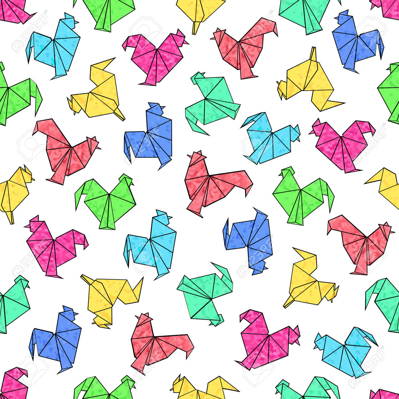 Seamless Pattern Of Origami Rooster In Textural Bright Colors Vector Design For Mockups Brochures
