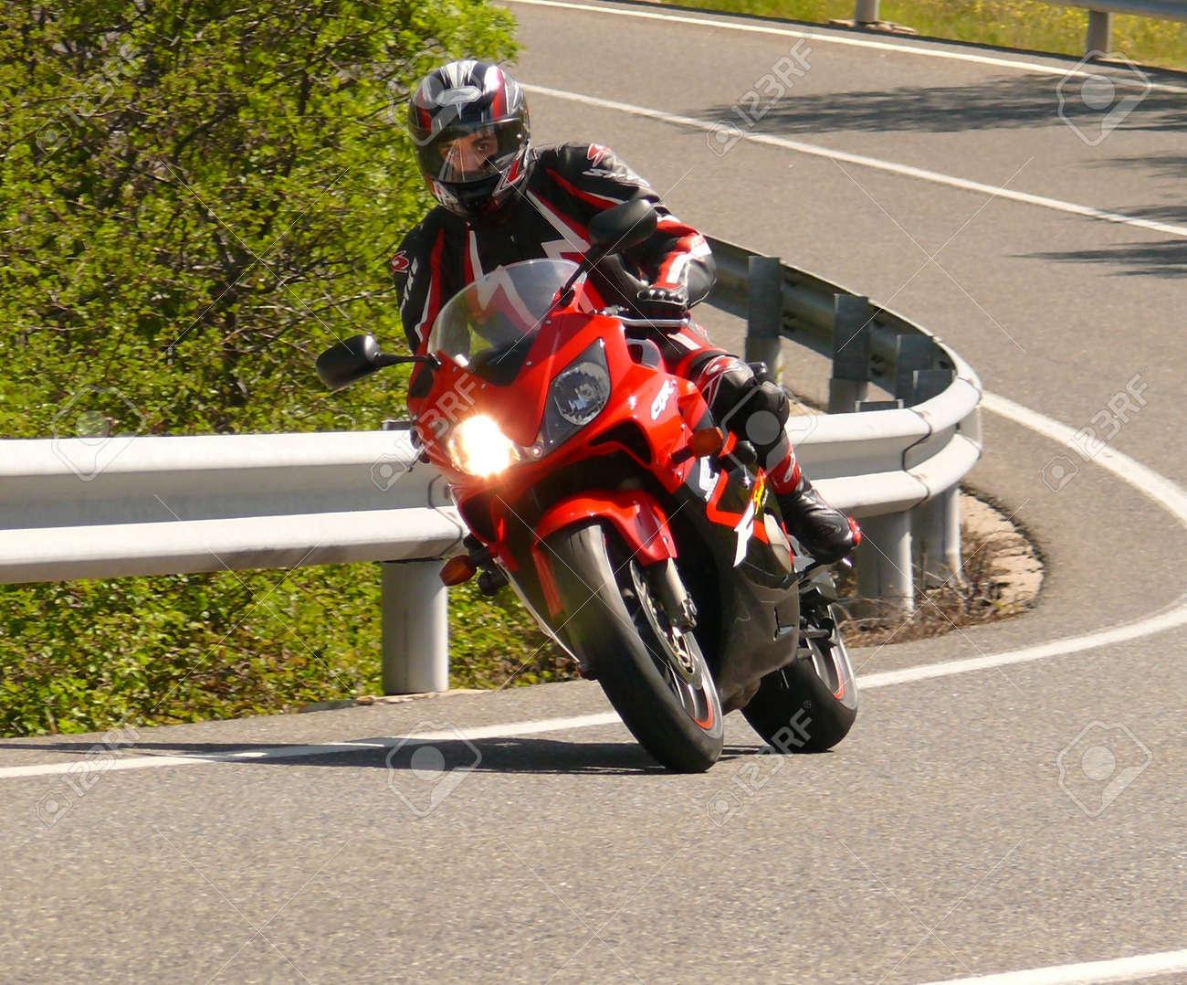 surprise of man in motorbyke Stock Photo - 1064615