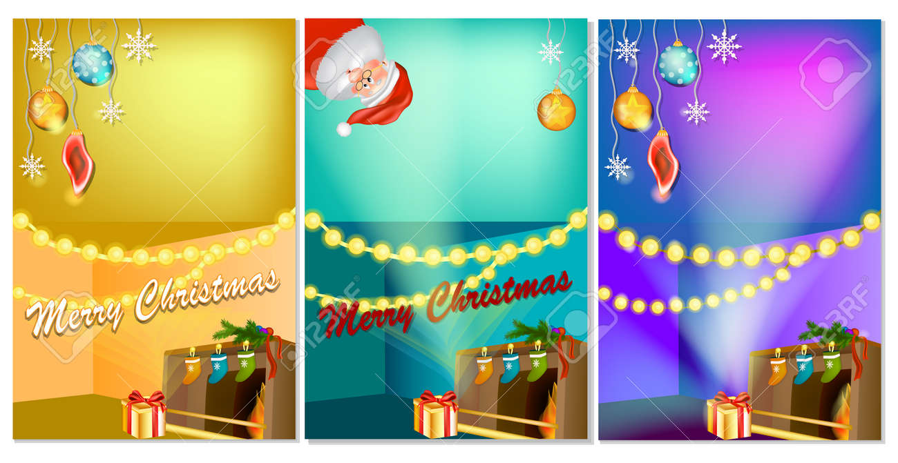 set of three vertical new years banners with christmas cartoon home interior with a hot fireplace