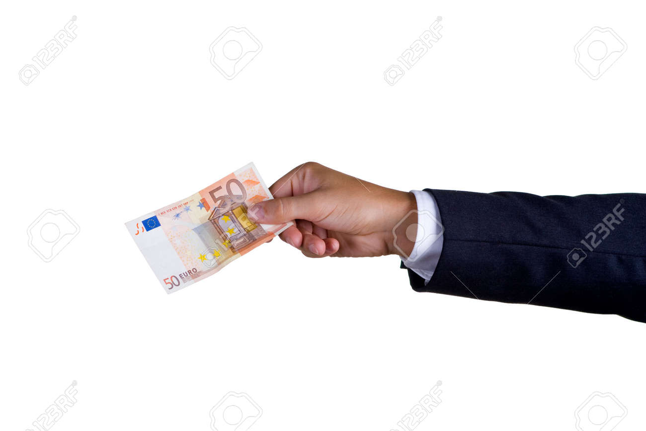 A business man with fifty euro in his hand Stock Photo - 3742432