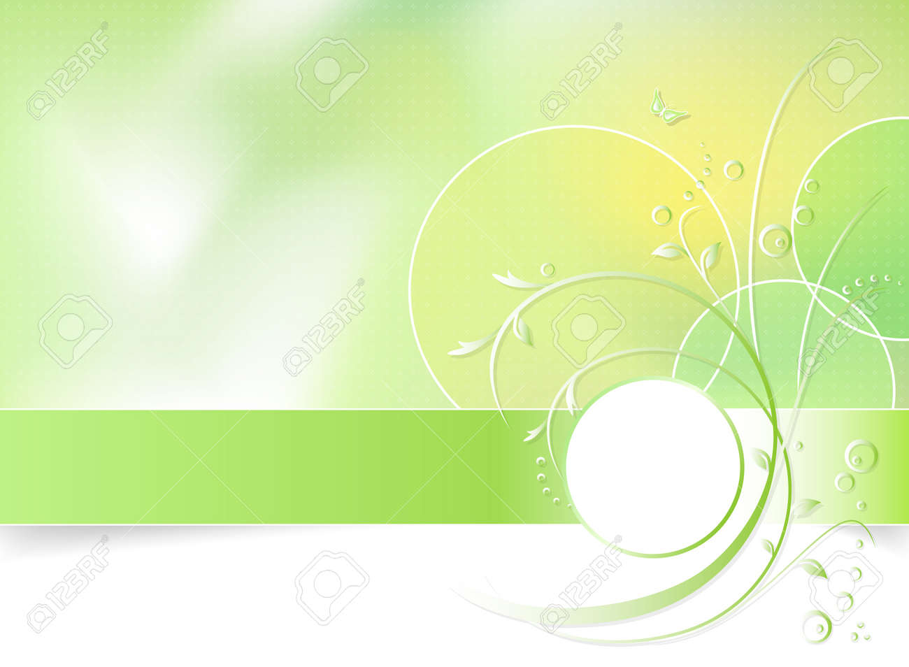 Green spring flower background, greeting card - abstract floral design in white, green and light yellow color - vector illustration Stock Vector - 9236851