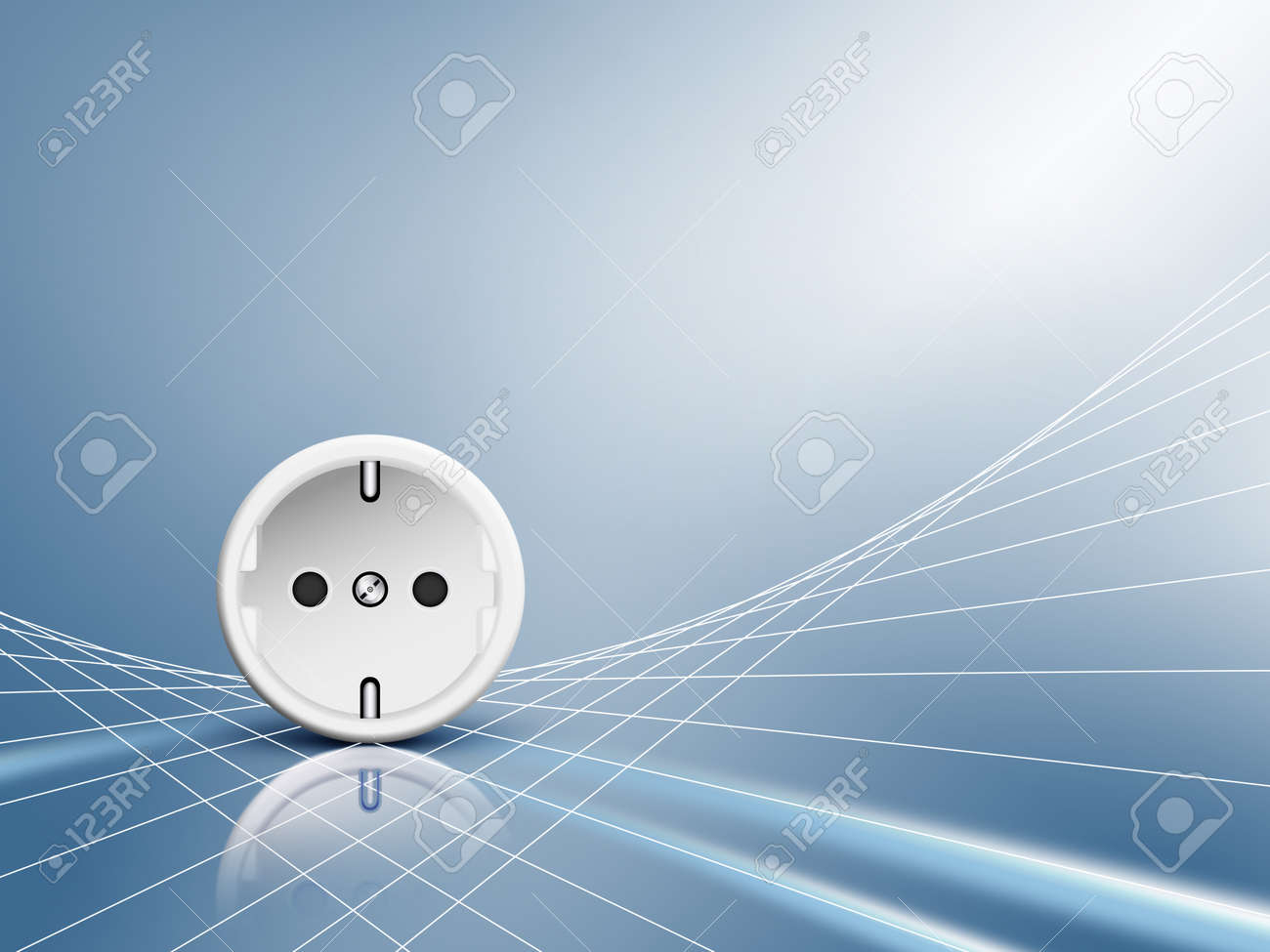 Electric energy - socket, outlet with white abstract power cables