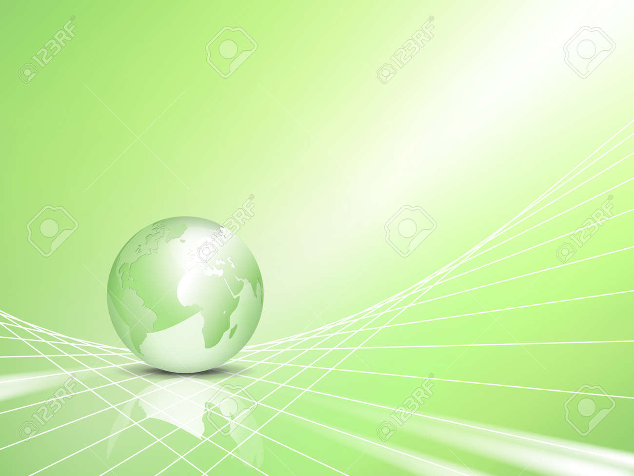 Light green eco business background with abstract 3d vector globe, world map - symbol of environmental protection - ecology and green energy concept Stock Vector - 9716622