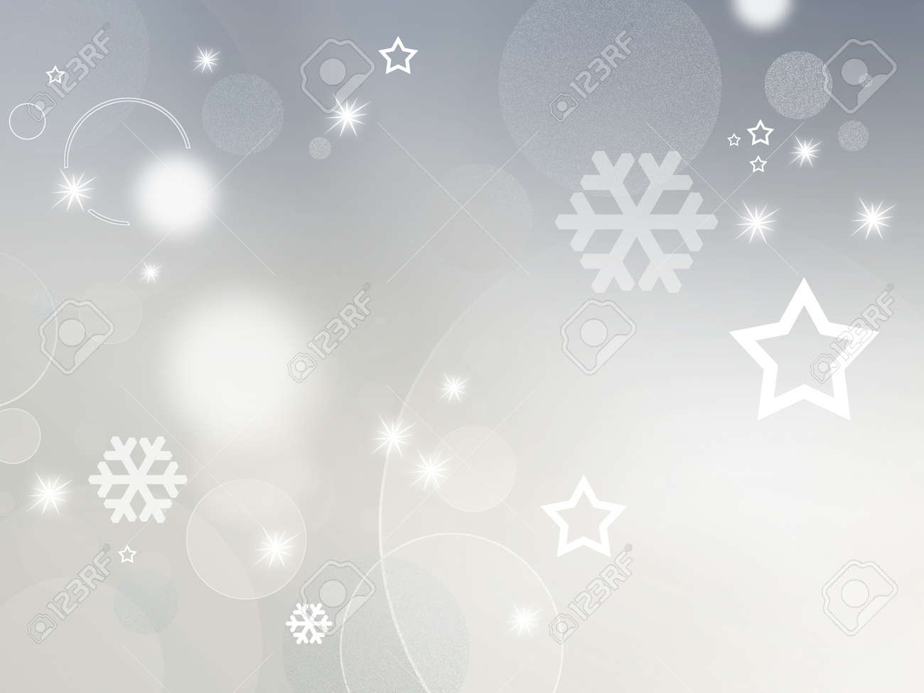 light grey and white background with shiny stars circles and snowflakes abstract design for