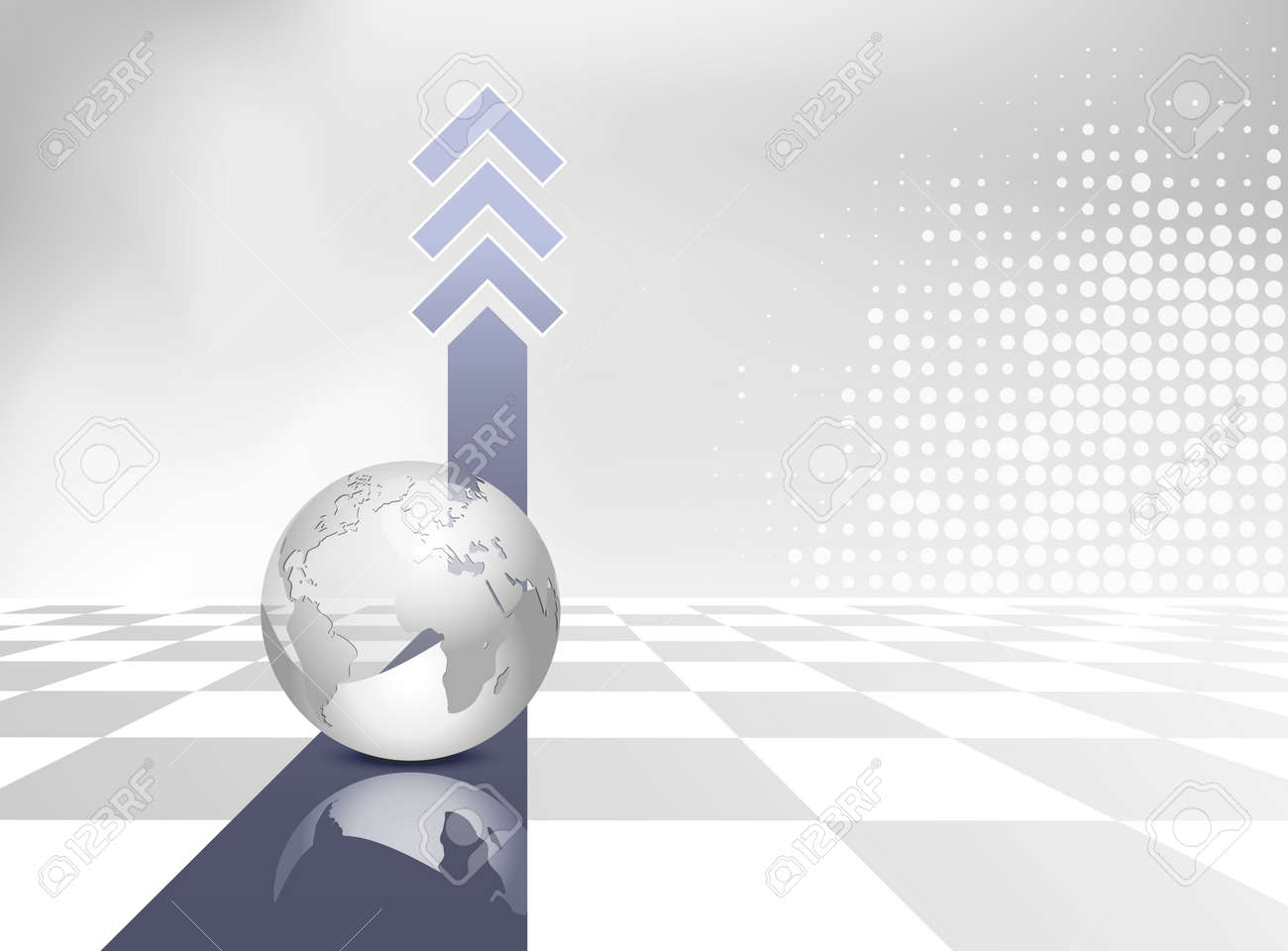 Business background with globe blue arrows and gray and white business background with globe blue arrows and gray and white checked floor global map flashek Gallery