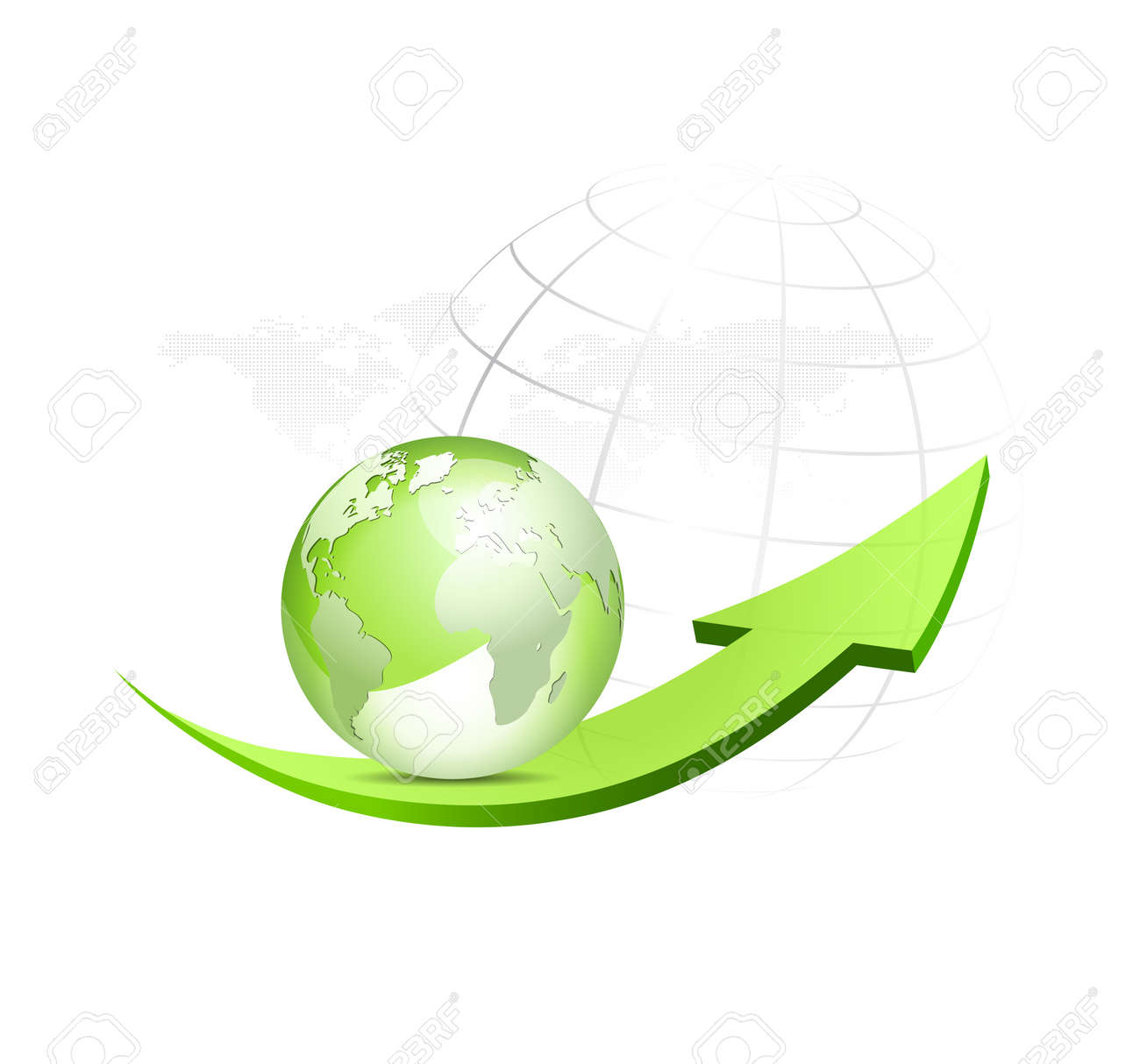 Green globe with arrow and dotted world map in the background green globe with arrow and dotted world map in the background glossy eco symbol gumiabroncs Gallery