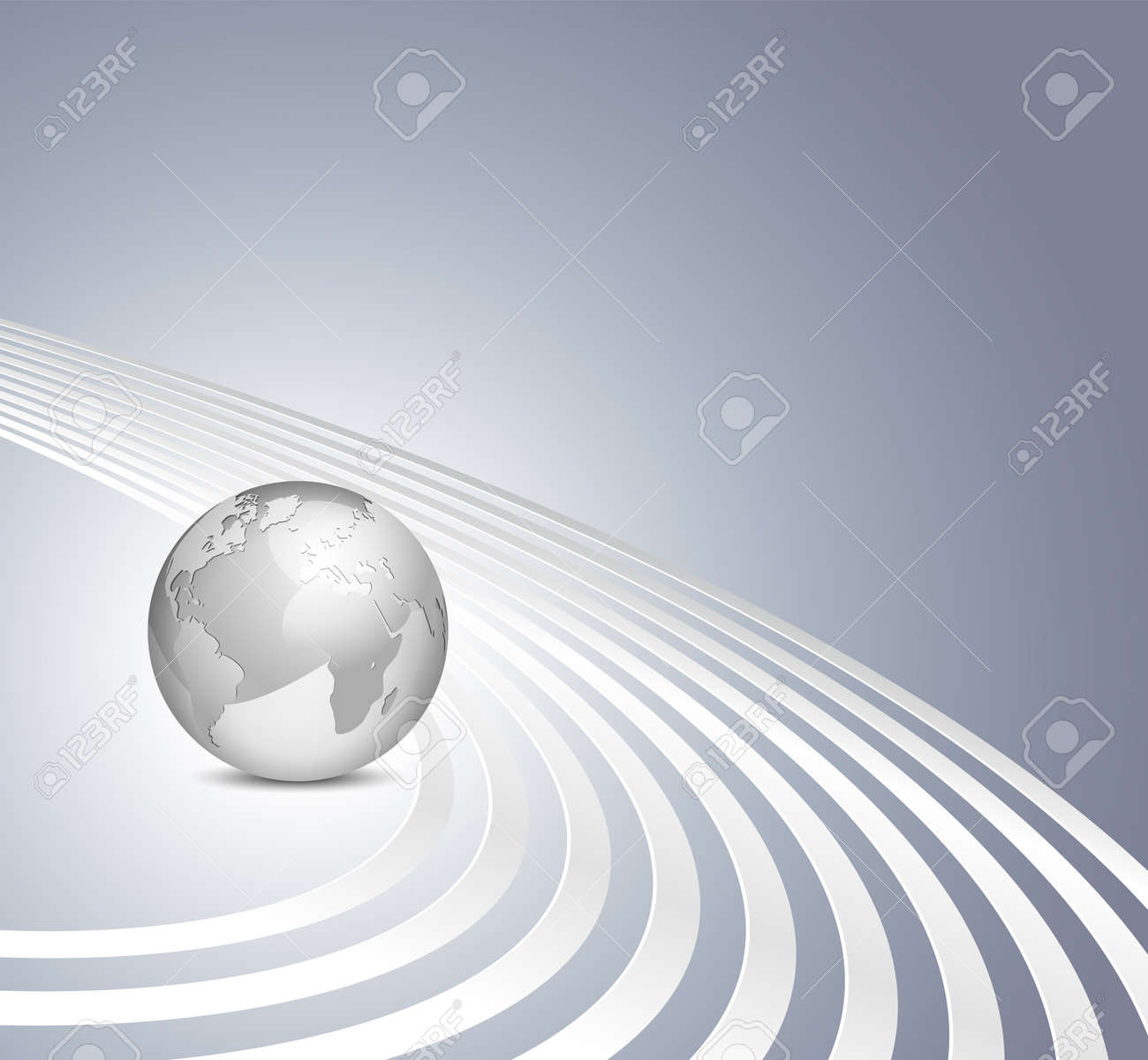 Vector 3d globe on gray blue background with silver lines - abstract business template Stock Vector - 10251716