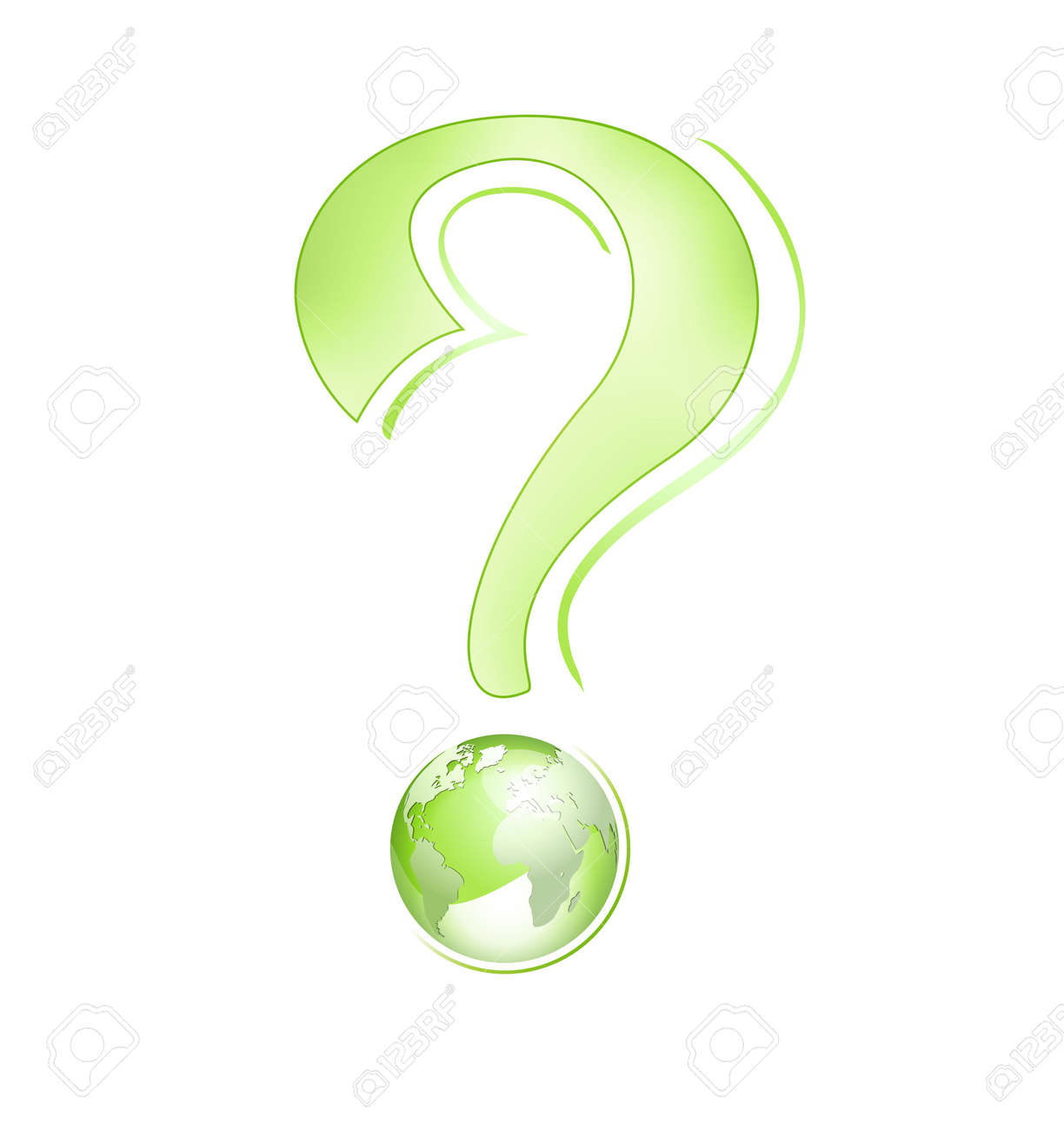 Abstract business globe design - environment concept with green globe and question mark against white background - vector illustration Stock Vector - 10972302