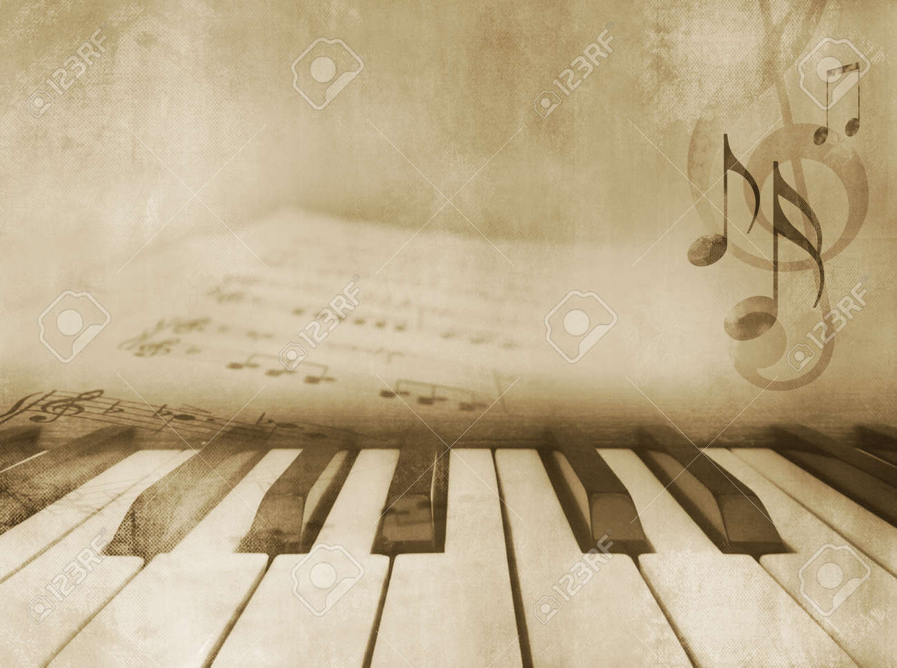 Grunge Musical Background Piano Keys And Sheet Music Vintage